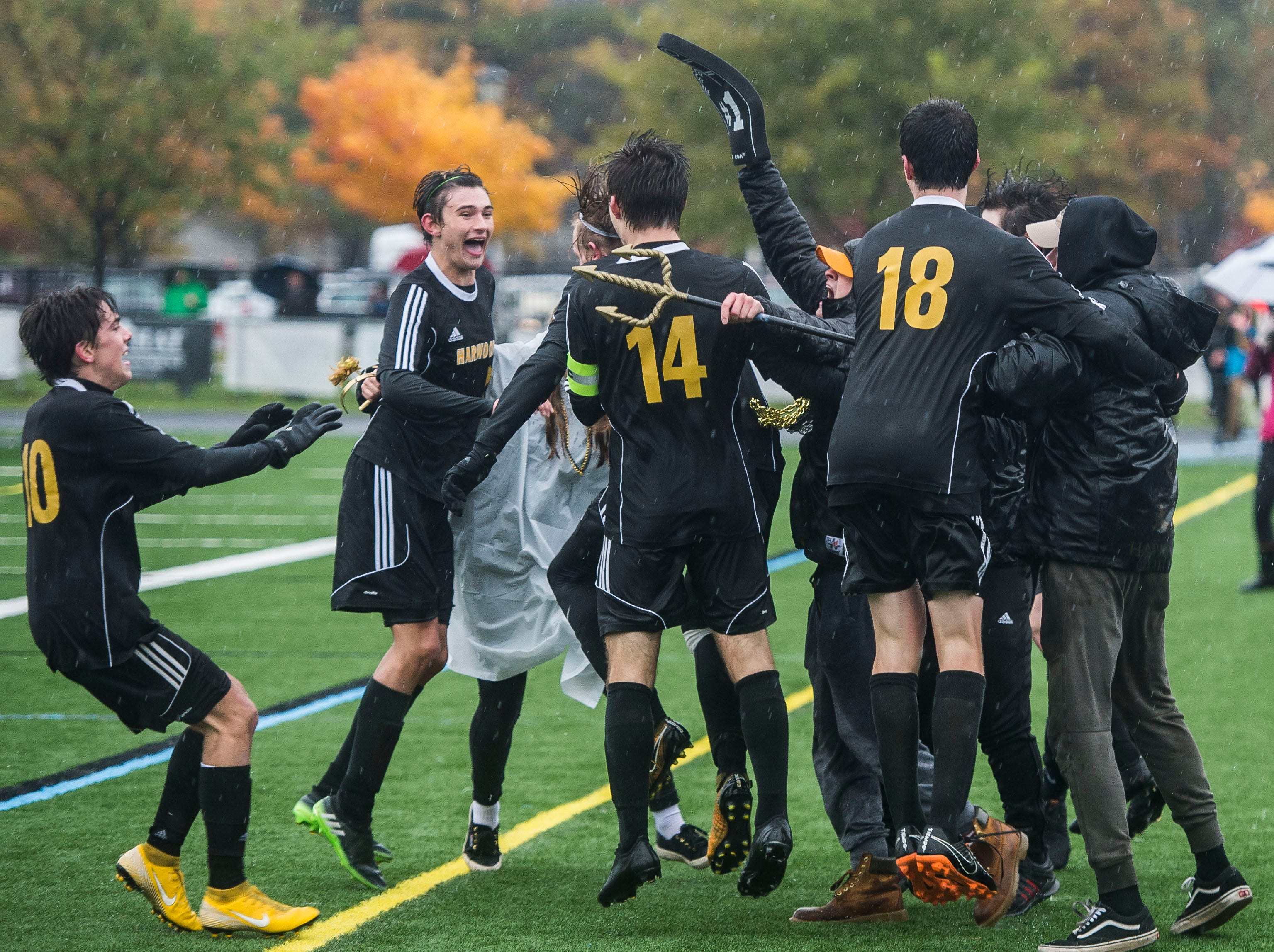 Harwood Union boy's soccer team celebrates after winning the Div. 2 Vermont State high school boy's soccer championship game at South Burlington High School on Saturday, Nov. 3, 2018, beating Woodstock 3-0.