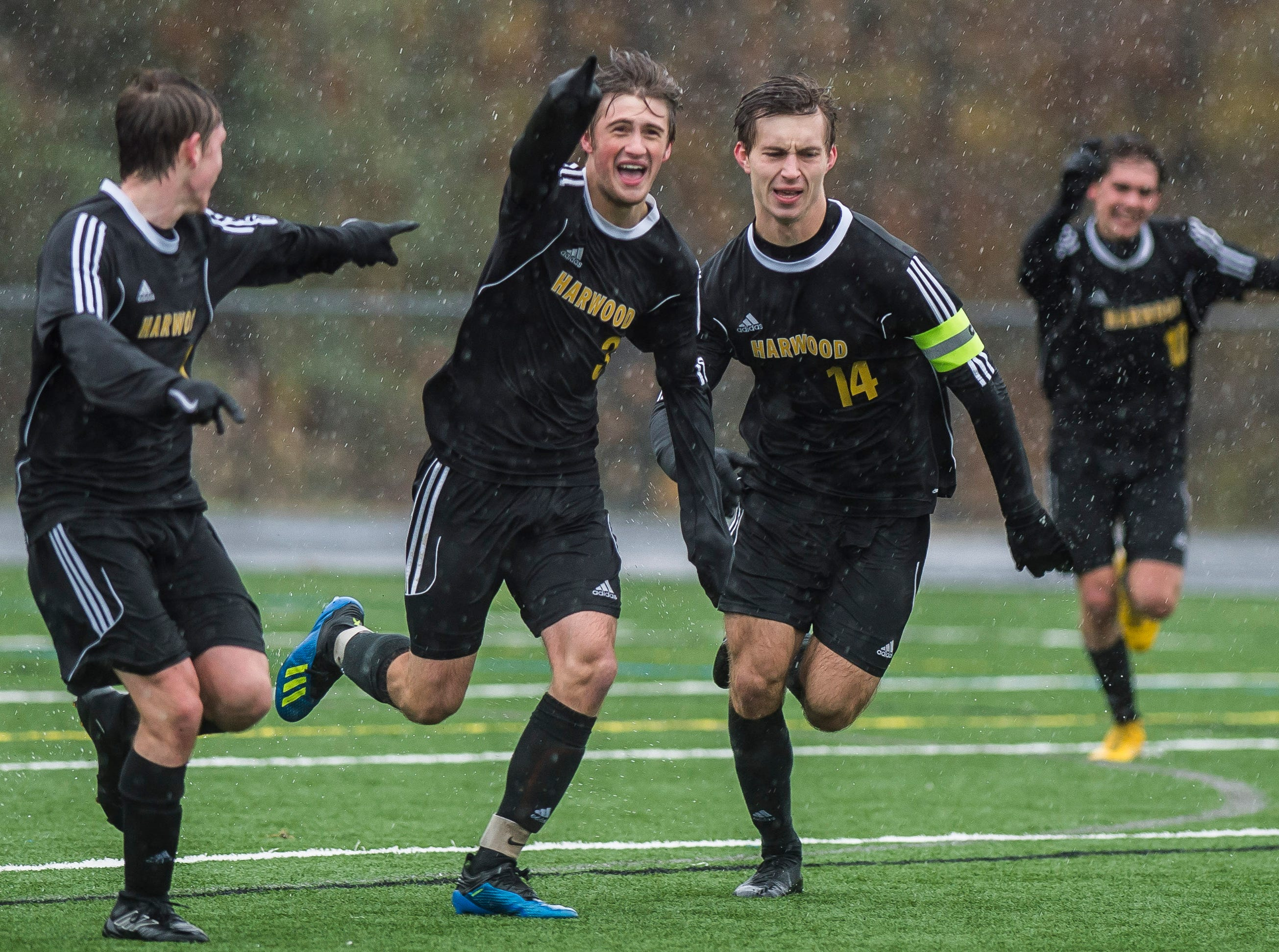 Harwood #3 Will Lapointe celebrate scoring during their Div. 2 Vermont State high school boy's soccer championship game against Woodstock at South Burlington High School on Saturday, Nov. 3, 2018. Hardwood Union won, 3-0.