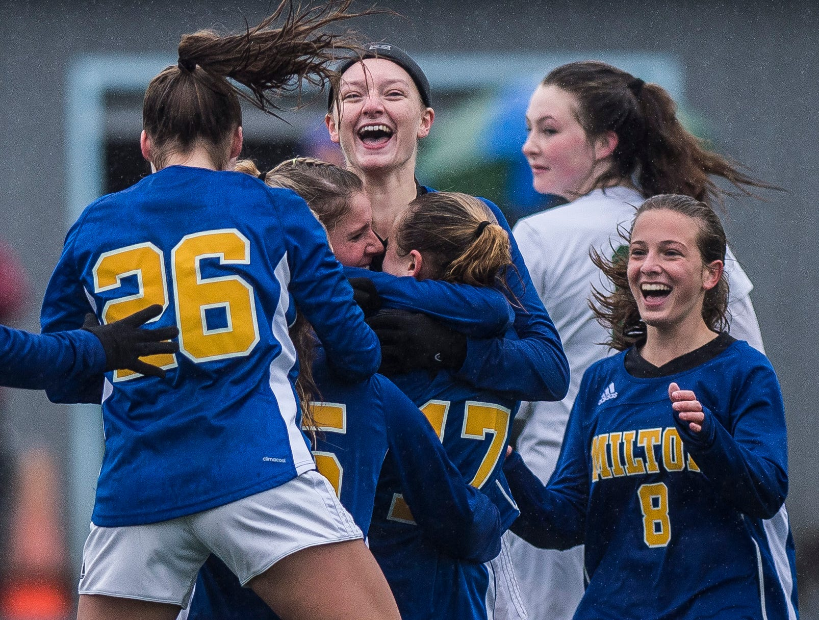 Milton celebrates their first goal, tying the game at 1-1, during the Div. 2 Vermont State girl's high school soccer championship on Saturday, Nov. 3, 2018, at South Burlington High School. Milton won the championship in sudden-death overtime, 2-1.