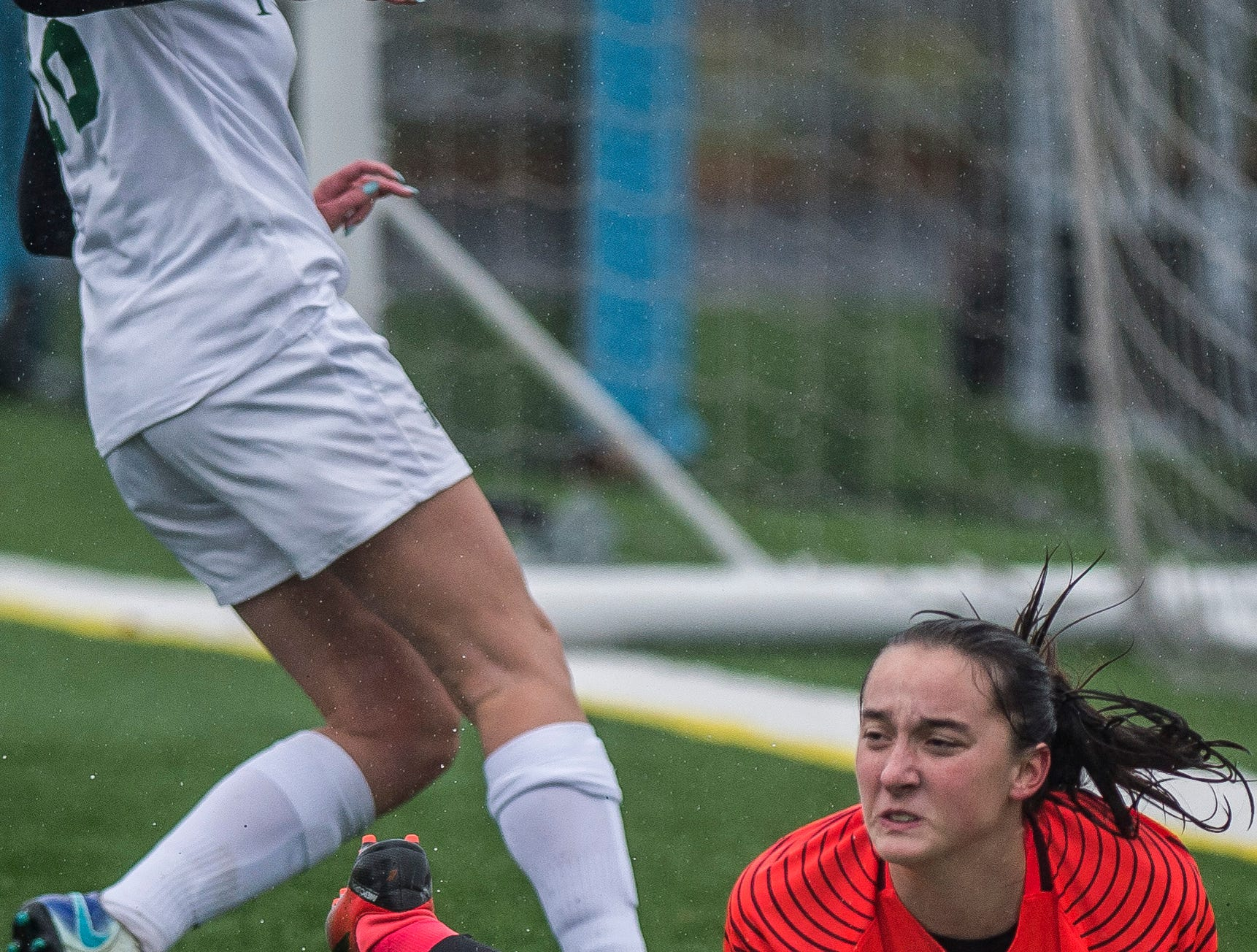 Milton goalie Madison North pulls in the loose ball during the Div. 2 Vermont State girl's high school soccer championship on Saturday, Nov. 3, 2018, at South Burlington High School. Milton won the championship in sudden-death overtime, 2-1.