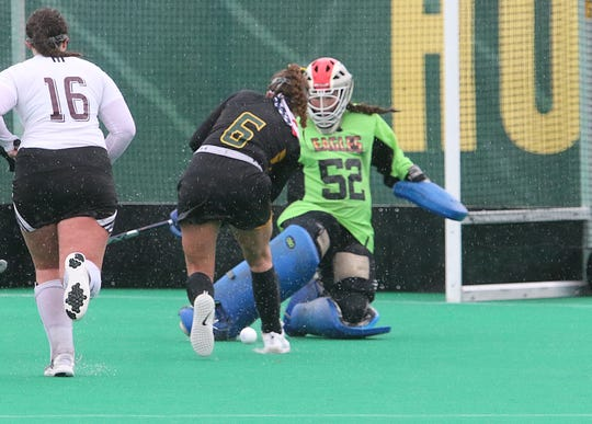 Mt Abraham goalie Chessley Jackman makes a key stop late in the Eagles 3-2 double OT win over Burr & Burton in the 2018 D-II state title game.