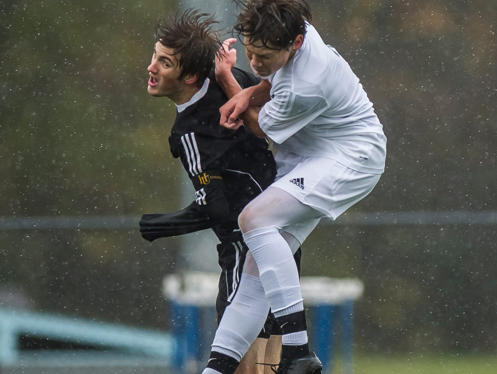 Hardwood #3 Will Lapointe and Woodstock #3 Blake Heston collide going for the header during their Div. 2 Vermont State high school boy's soccer championship game at South Burlington High School on Saturday, Nov. 3, 2018. Hardwood Union won, 3-0.