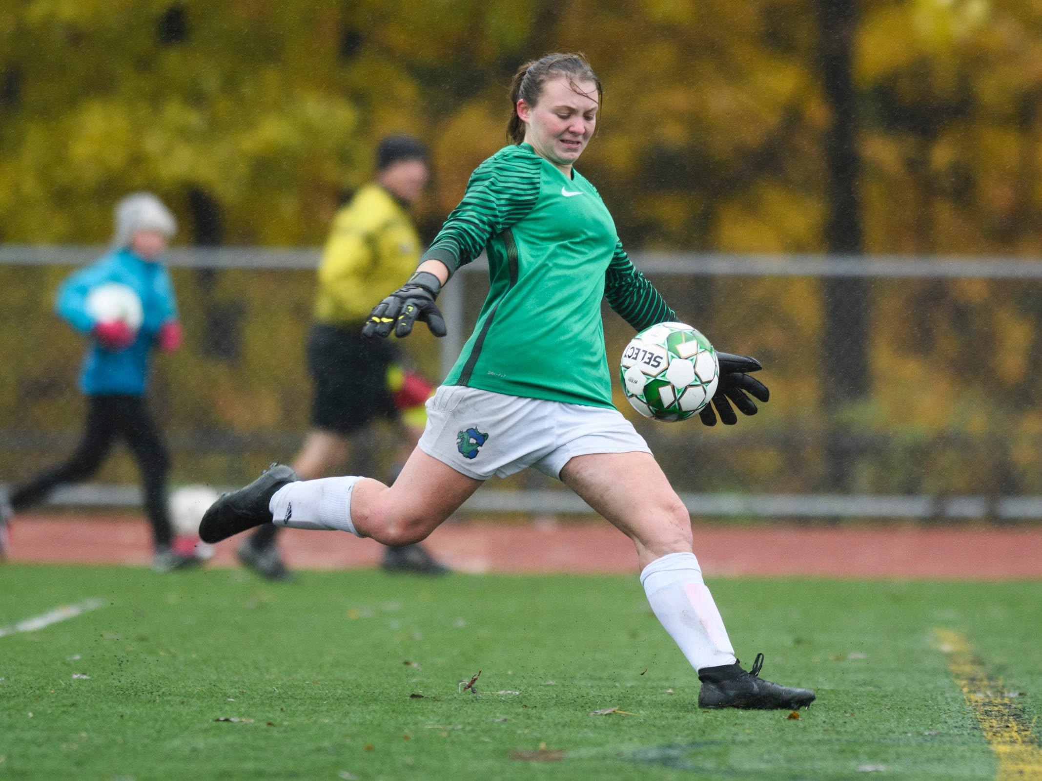 Colchester goalie Olivia Moore kicks the ball down the field during the division I girls soccer championship game between the Colchester Lakers and the Champlain Valley Union Redhawks at Buck Hard Field on Saturday morning November 3, 2018 in Burlington.