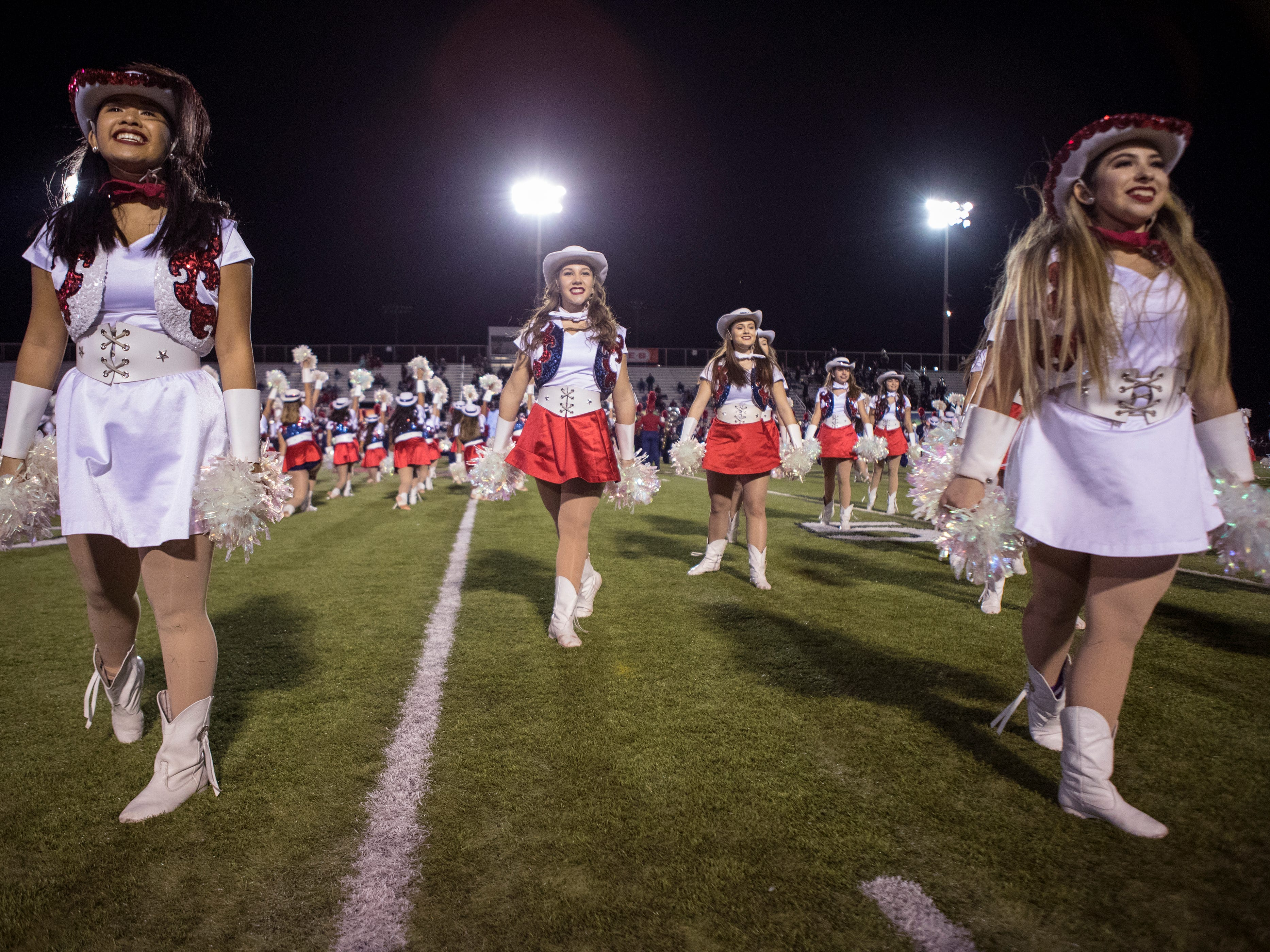 Members of the Veterans Memorial High School Starline Dance Team perform during halftime of the Veterans Memorial and Victoria West football game at Cabaniss Field on Friday, November 2, 2018.