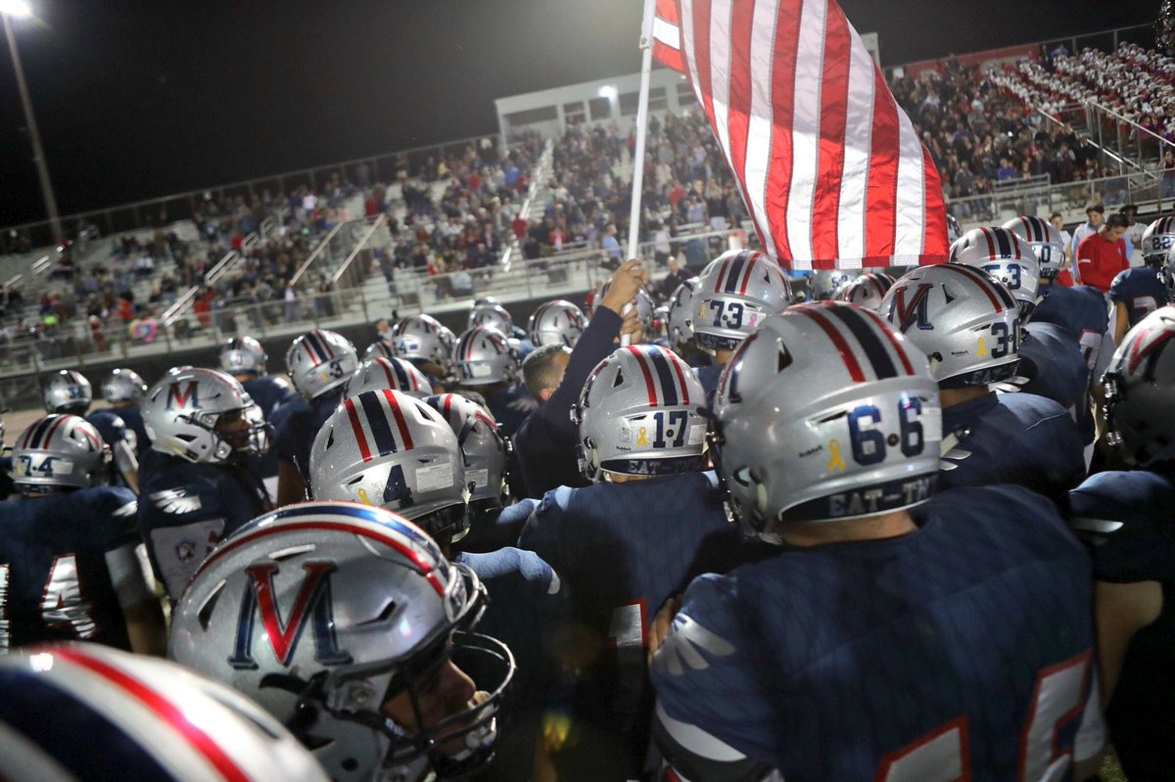 The Veterans Memorial Eagles and the Victoria West Warriors battle at Cabaniss Stadium in Corpus Christi.