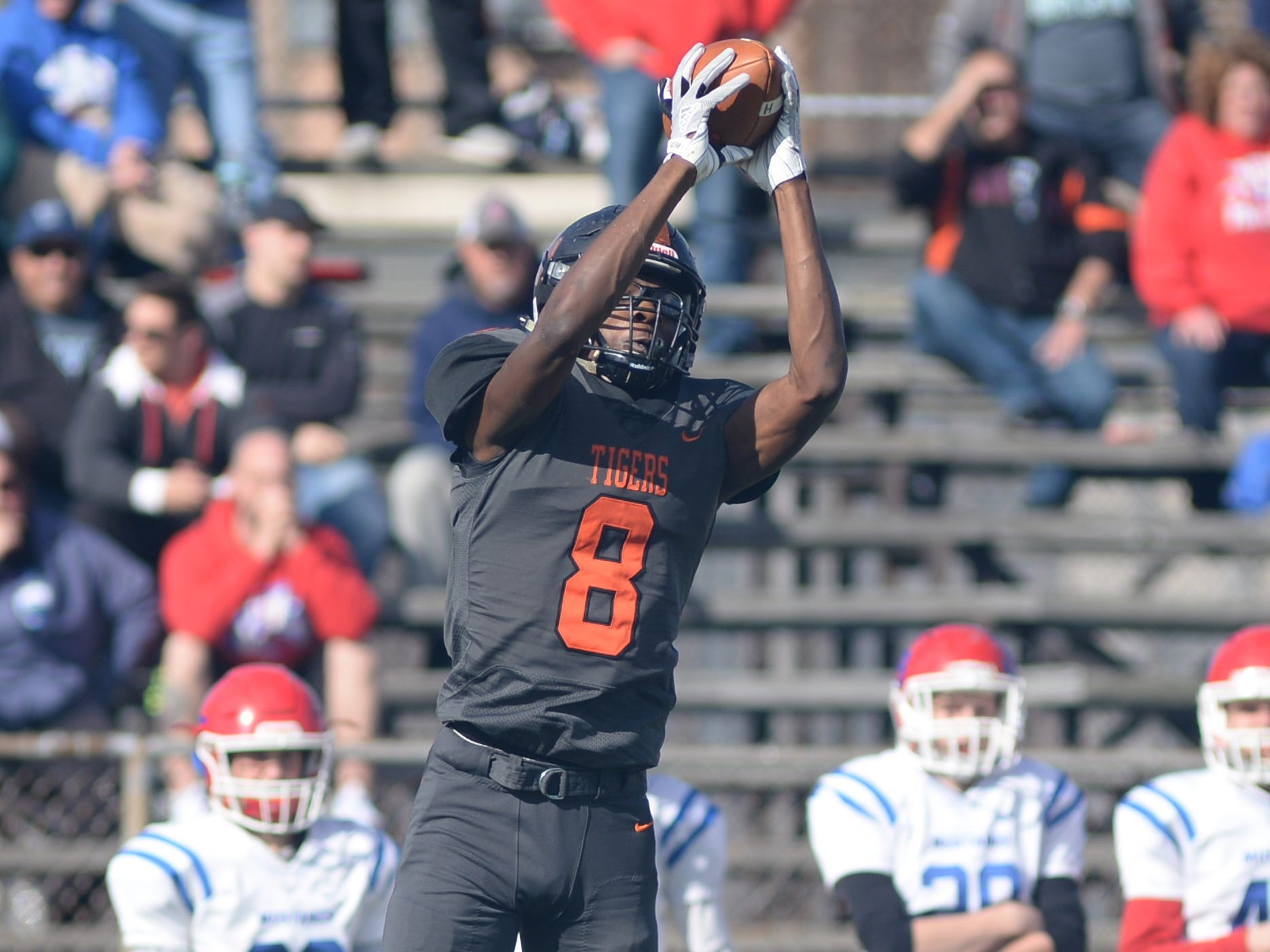 Woodrow Wilson's Stanley King catches the ball during Saturday's South Jersey Group 3 first round game against Triton at Woodrow Wilson High School, Nov. 3, 2018.