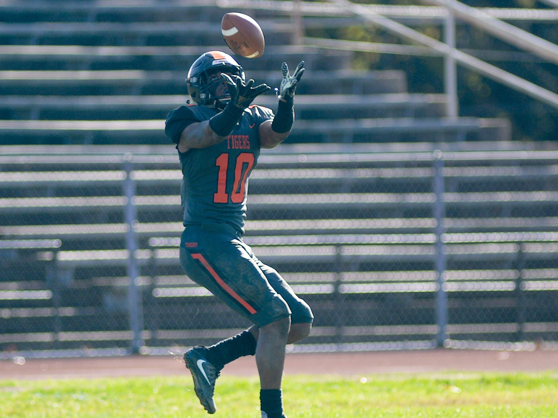 Woodrow Wilson's Fadil Diggs catches a touchdown pass during Saturday's South Jersey Group 3 first round game against Triton at Woodrow Wilson High School, Nov. 3, 2018.