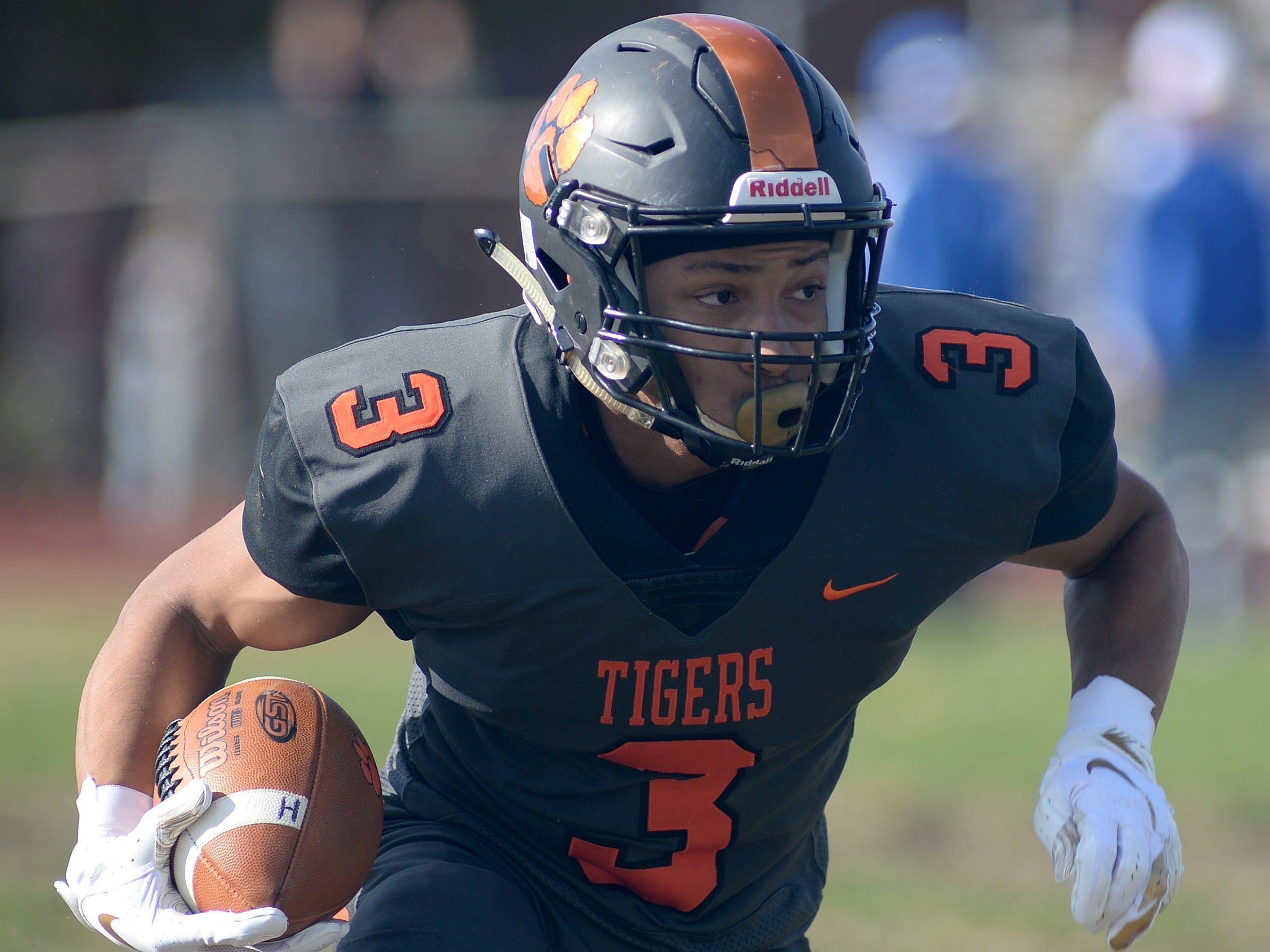 Woodrow Wilson's Naiem Simmons carries the ball during Saturday's South Jersey Group 3 first round game against Triton at Woodrow Wilson High School, Nov. 3, 2018.