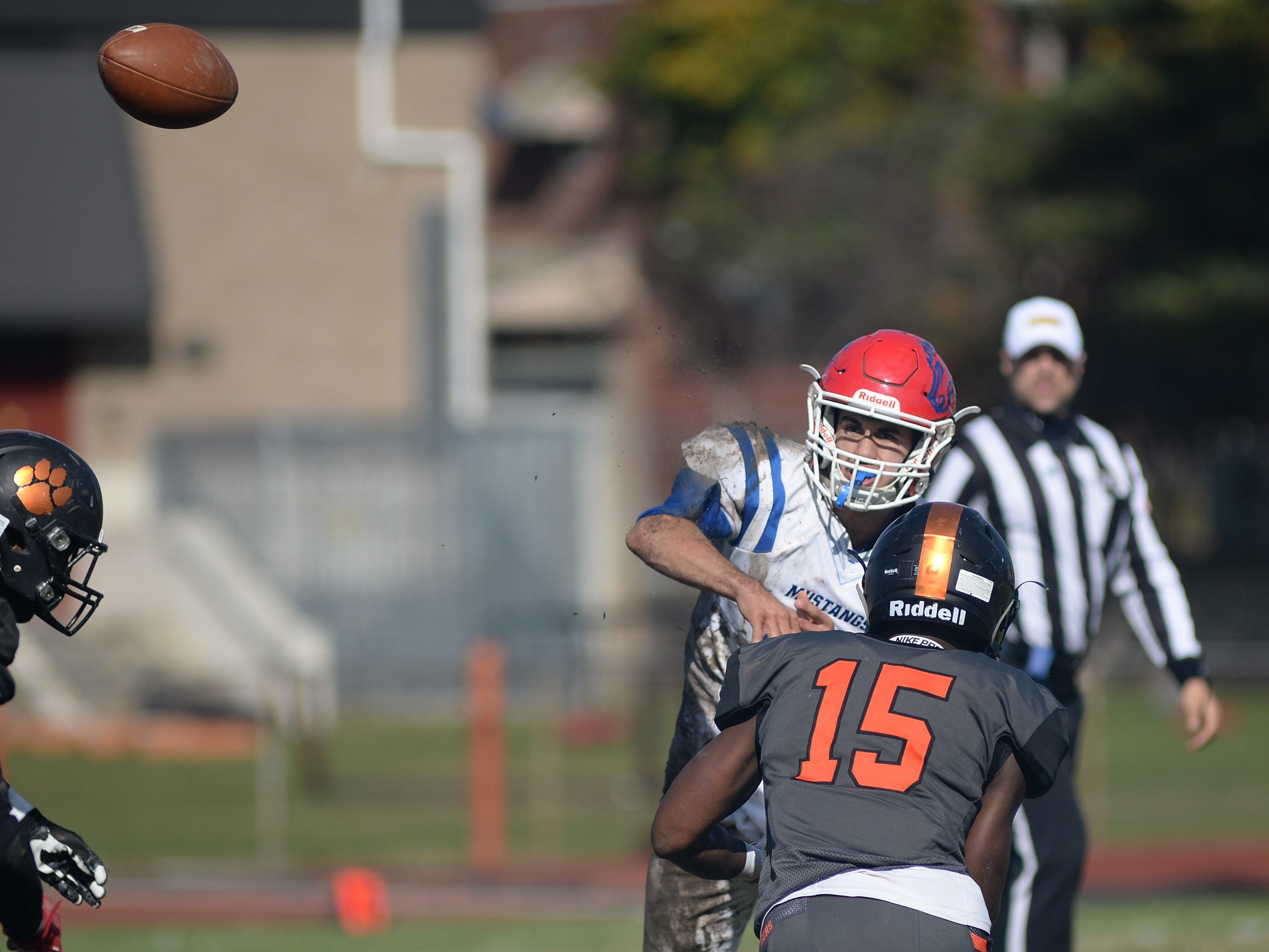 Triton's Geff Giancaterino throws a pass during Saturday's South Jersey Group 3 first round game against Woodrow Wilson, at Woodrow Wilson High School, Nov. 3, 2018.