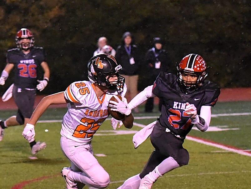 Bennett Synder (25) of Anderson takes the ball inside the red zone for the Redskins in the Division 2 Region quarterfinal playoff game, November 2, 2018.