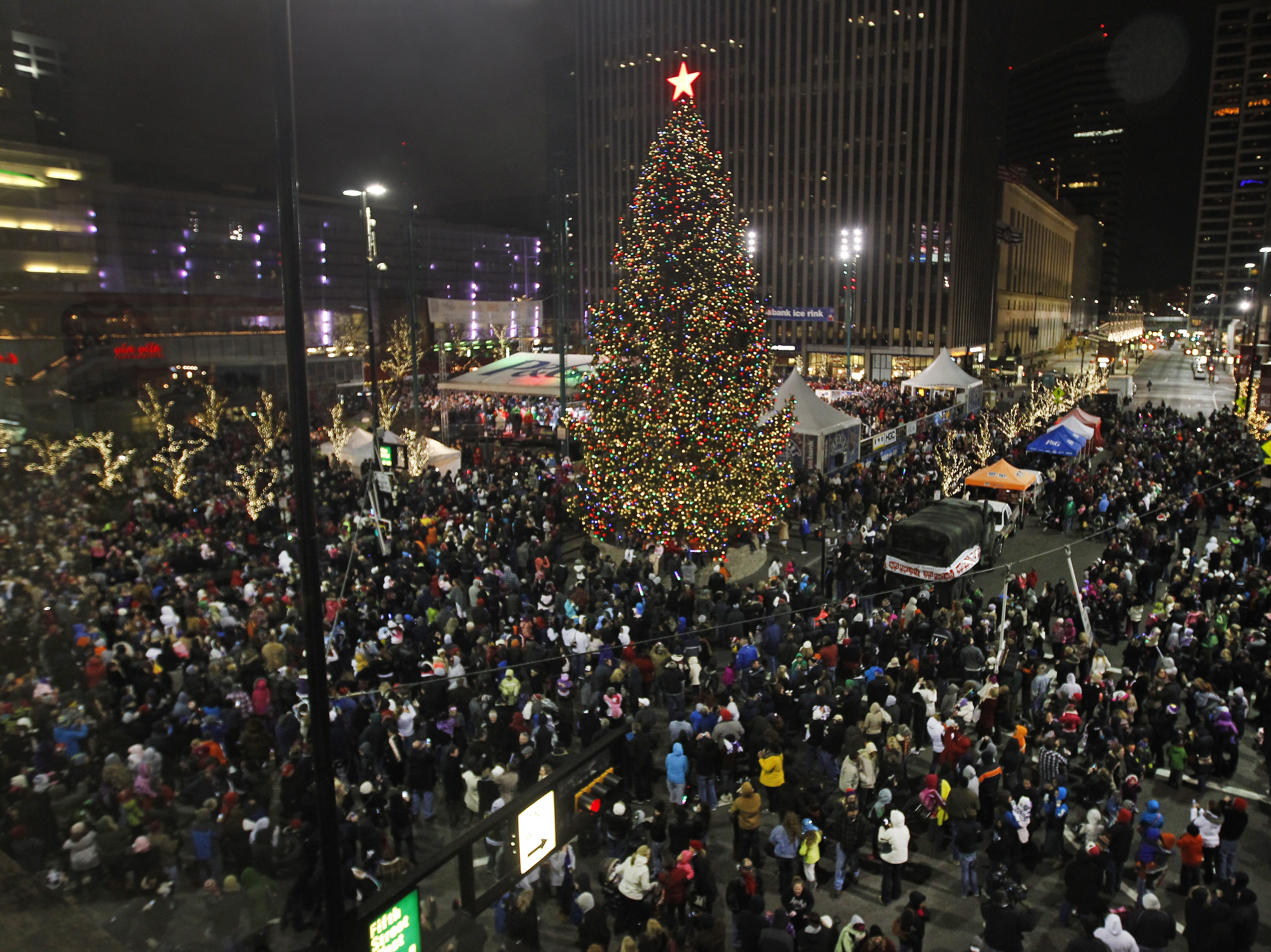 2012: The giant Christmas tree lit up Fountain Square during the Macy's Light up the Square downtown.
