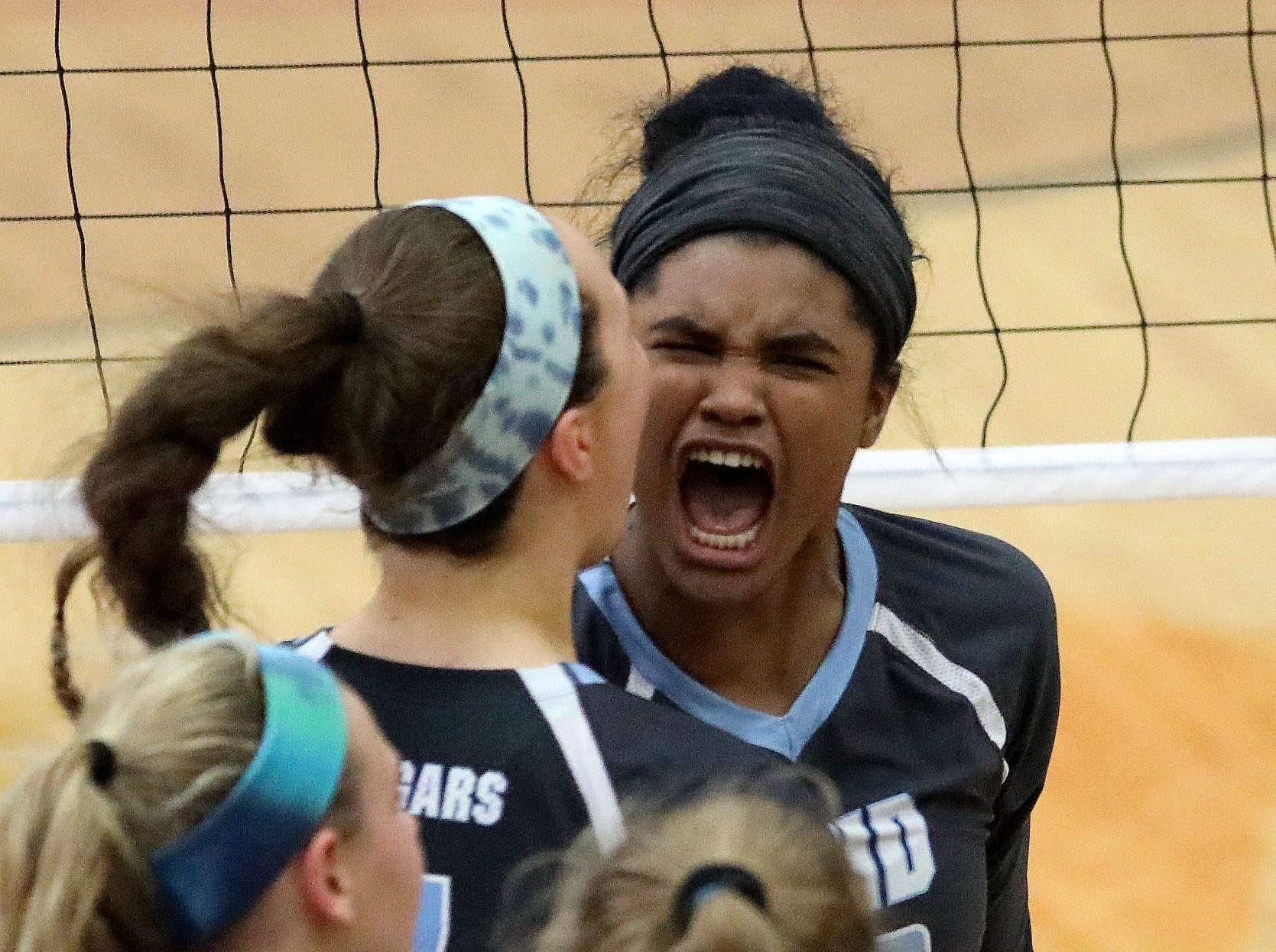 Mount Notre Dame's Ramei Jackson   reacts during their regional final against  Ursuline Saturday, Nov. 3 , 2018.