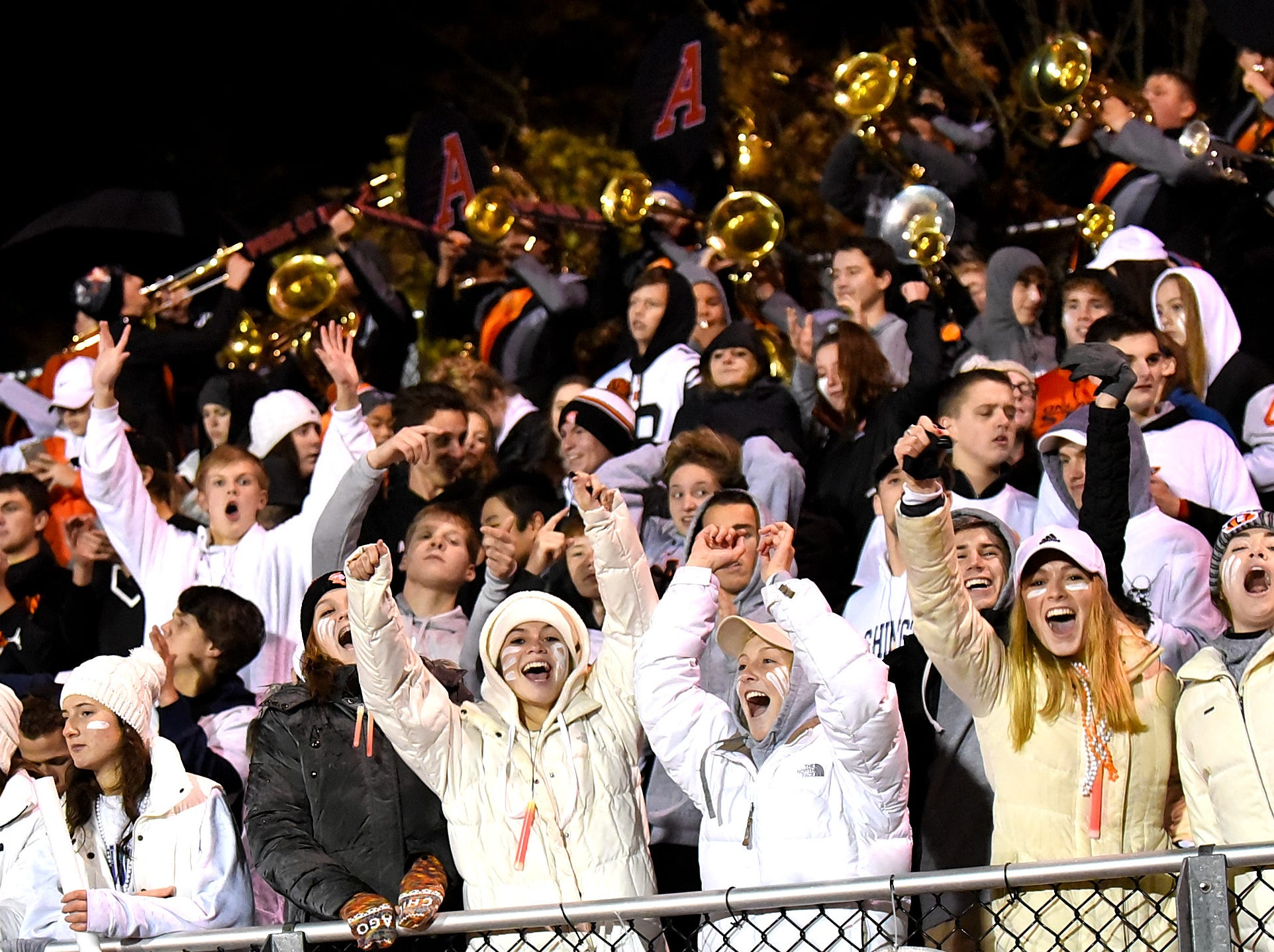 Anderson fans celebrate their victory in the Division 2 Region quarterfinal playoff game, November 2, 2018.