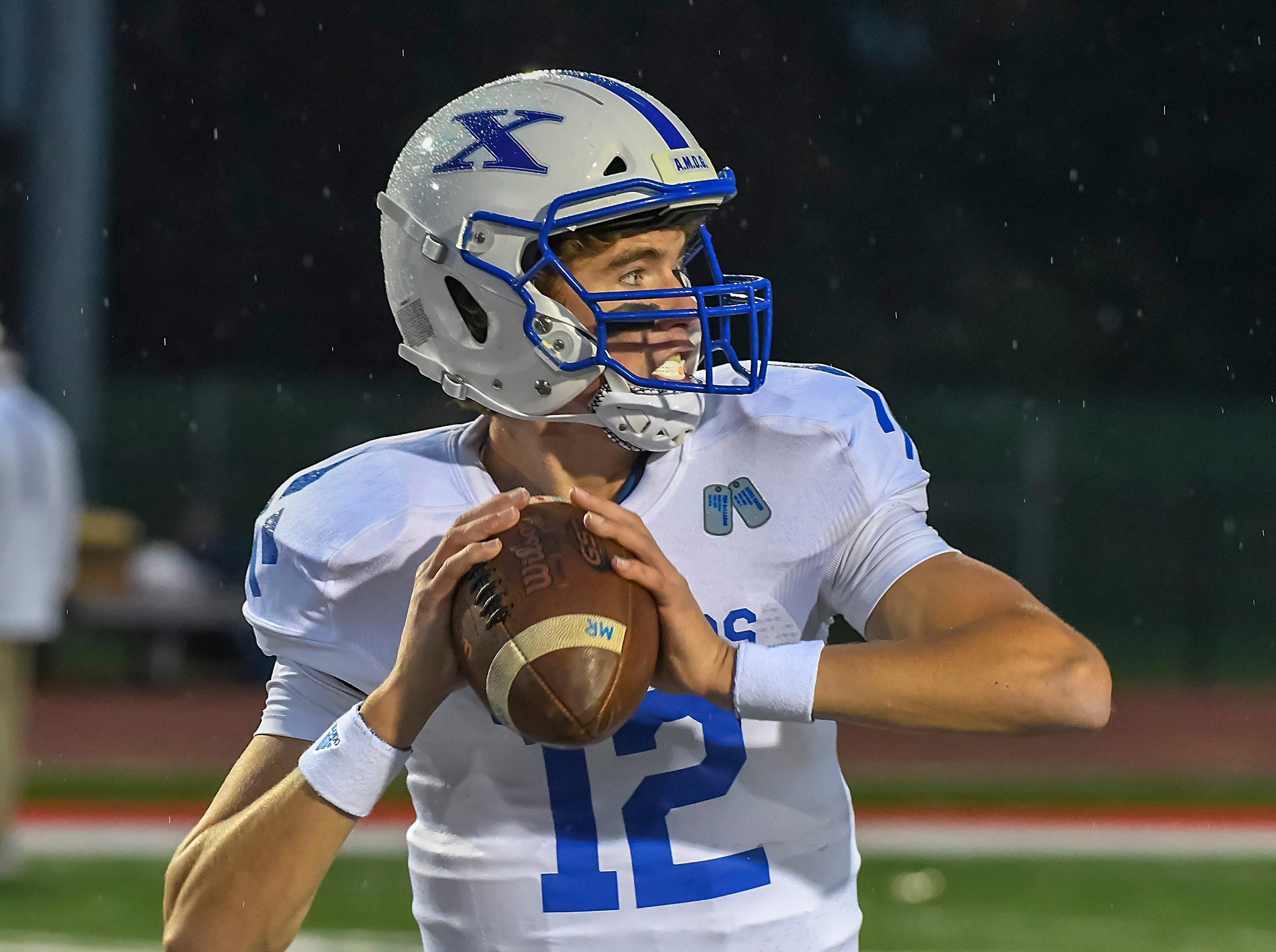 Matthew Rueve of St. X warm up before the game against Colerain in the OHSAA DI Region 4 Playoffs at Colerain High School,  Friday Nov. 2, 2018