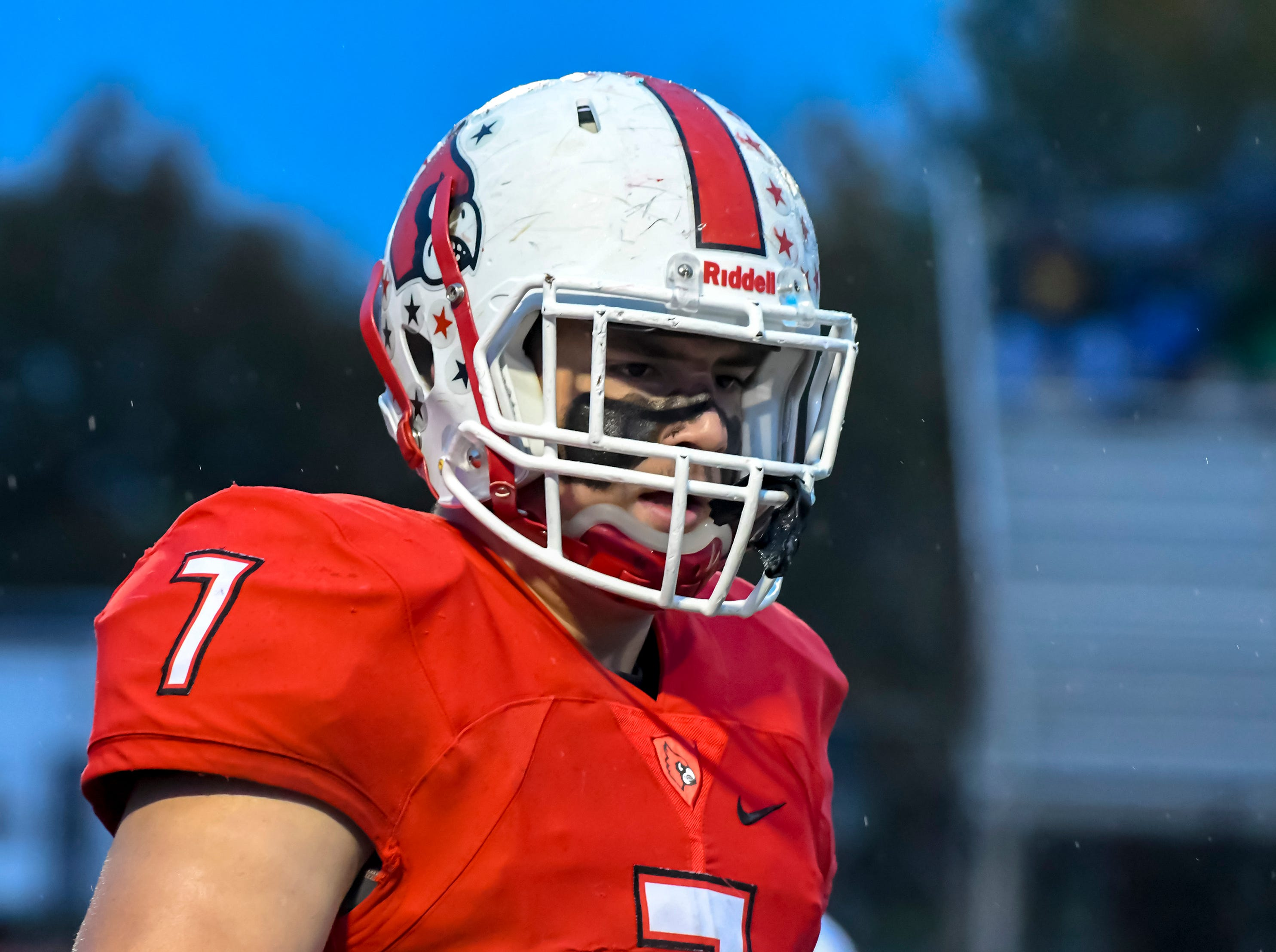 Colerain linebacker Luke Bolden looks on before the games against St. X in the OHSAA DI Region 4 Playoffs at Colerain High School,  Friday Nov. 2, 2018