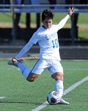 Summit Country Day's Colby Gordon with a free kick. SCD defeated McNicholas 3-1 to claim the Regional DII Championship.