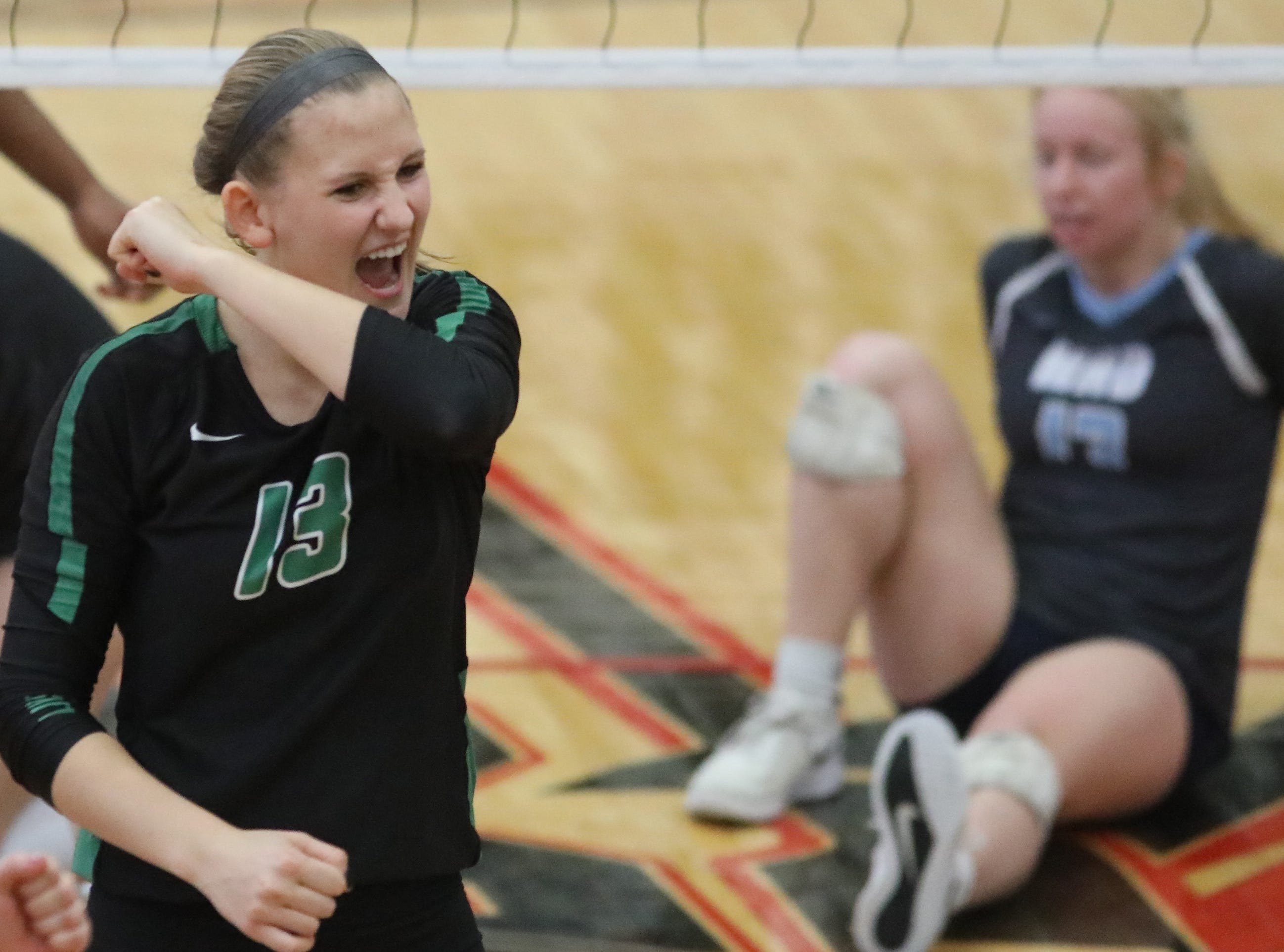 Ursuline player Julie Wilkins (13)  reacts during Lions win the regional championship over Mount Notre Dame. Saturday, Nov. 3, 2018.