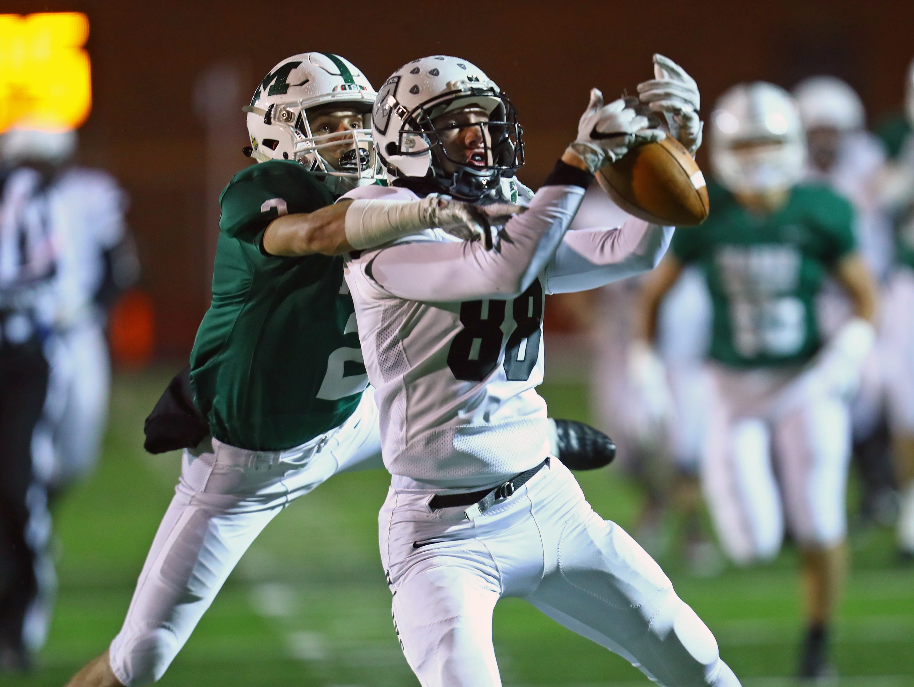 Lakota East TE Evan Yablonsky makes a catch for a first down and goal in the game between the Lakota East Thunderhawks and the Mason Comets.