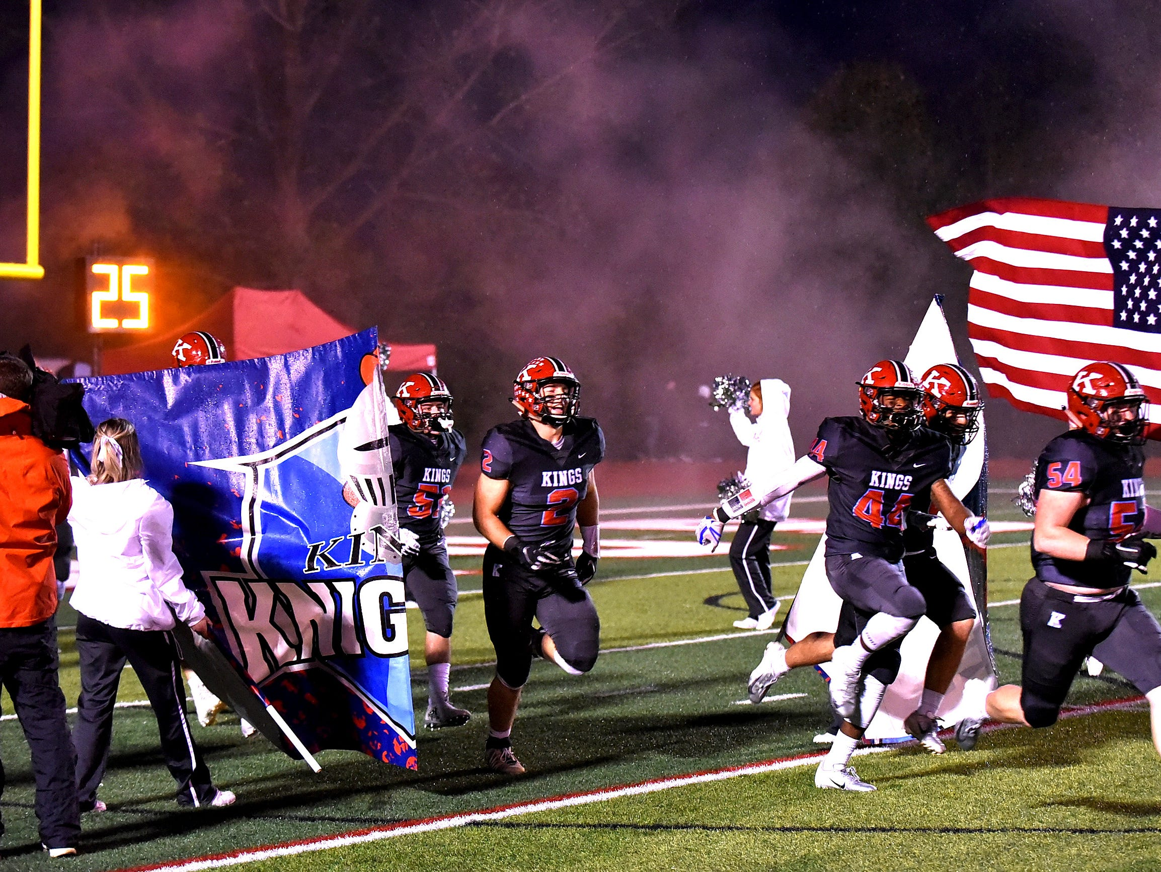 The Kings Knights take the field in preparation for the Division 2 Region quarterfinal playoff game, November 2, 2018.