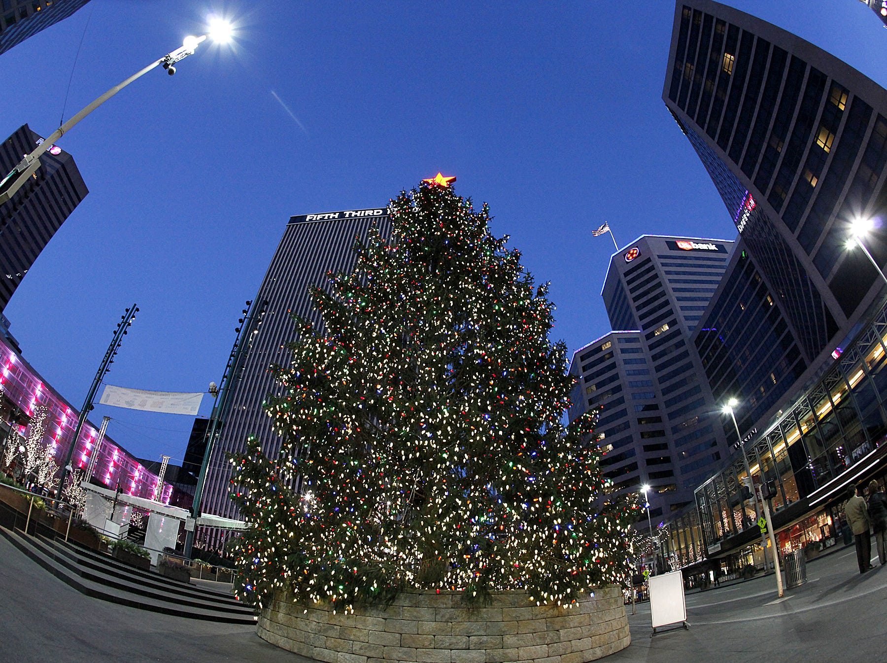 2011: Lights shine bright on the Christmas tree on Fountain Square, on Sunday, December 18.
