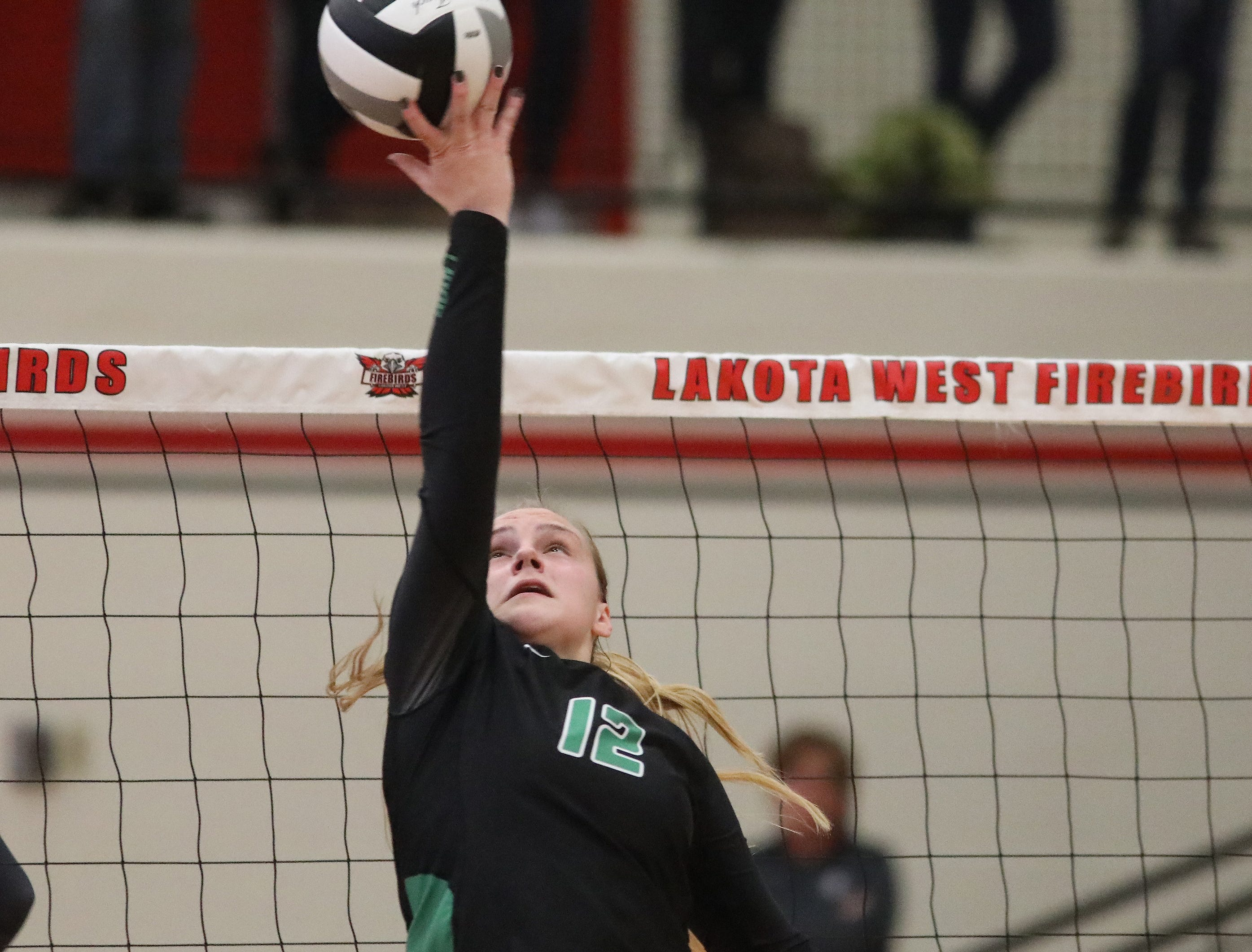 Ursuline player Logan Case (12) tips the ball over the net during the Lions win the regional championship game against Mount Notre Dame. Saturday, Nov. 3,2018.