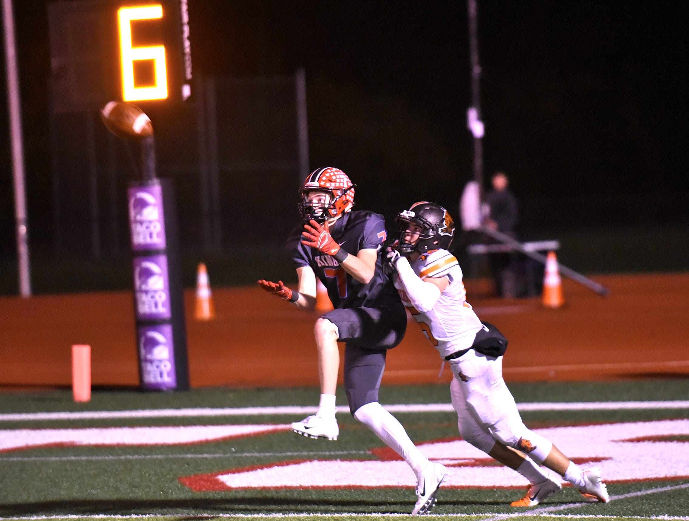 Jack McHugh hauls in a long pass from his quarterback to set up a Kings' first and goal from the 1-yard line, Nov. 2, 2018.