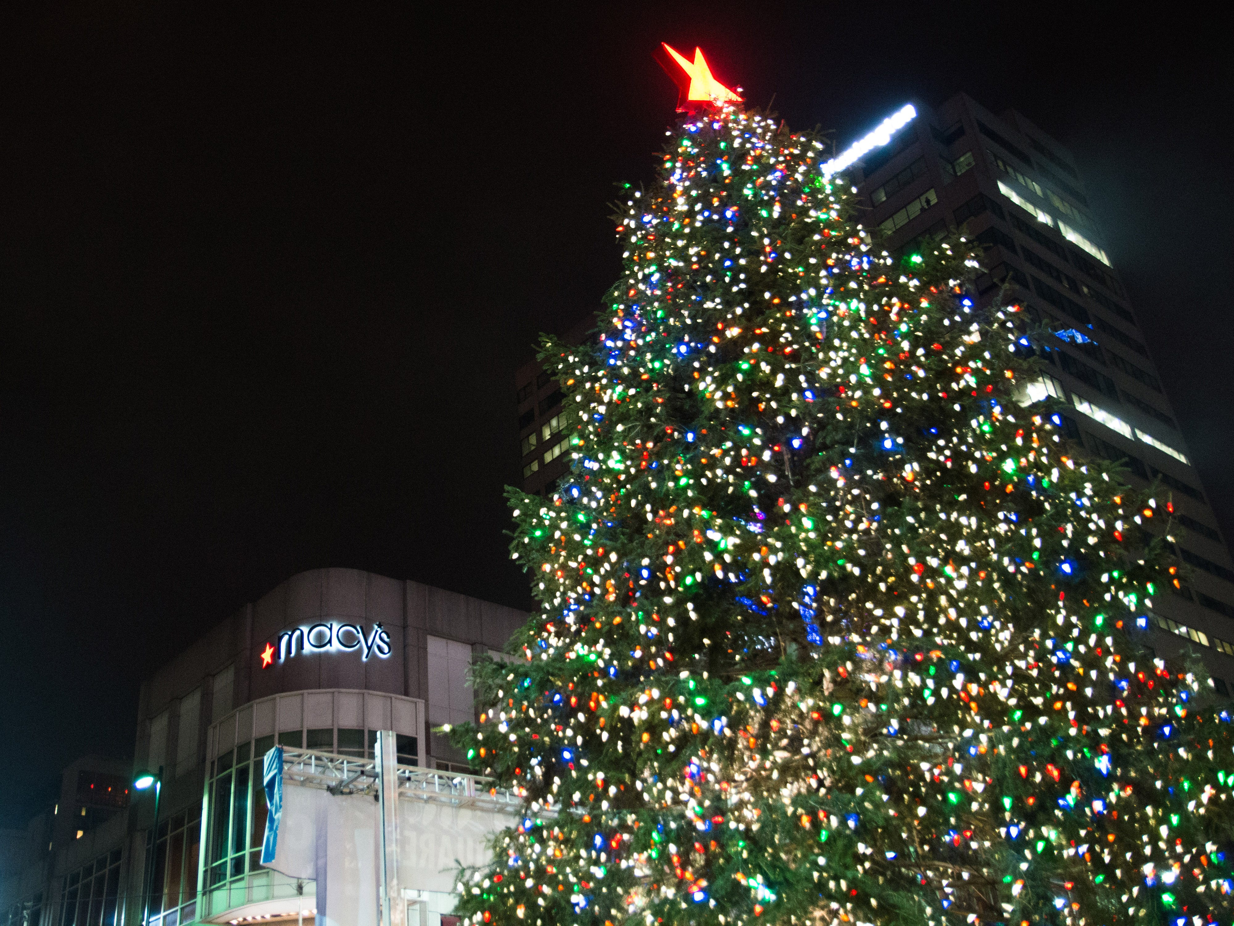 2015: To honor the holiday season, Macy's lit their tree on Fountain Square Nov. 27.