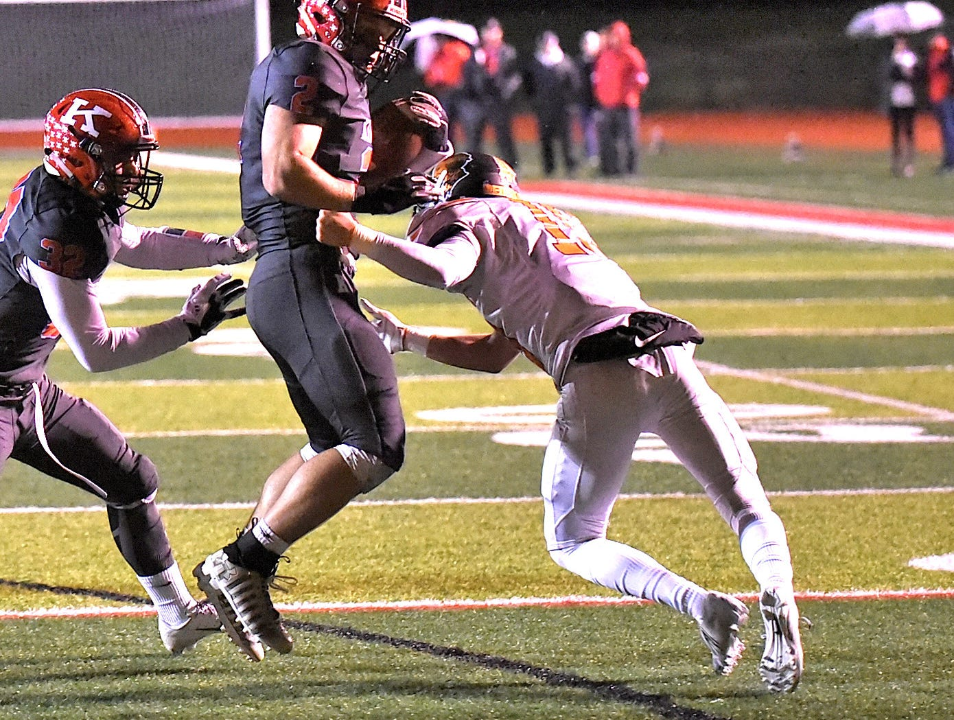 Jacob Stylski fights through the Anderson defense and to the end zone for a Kings touchdown, Nov. 2, 2018.