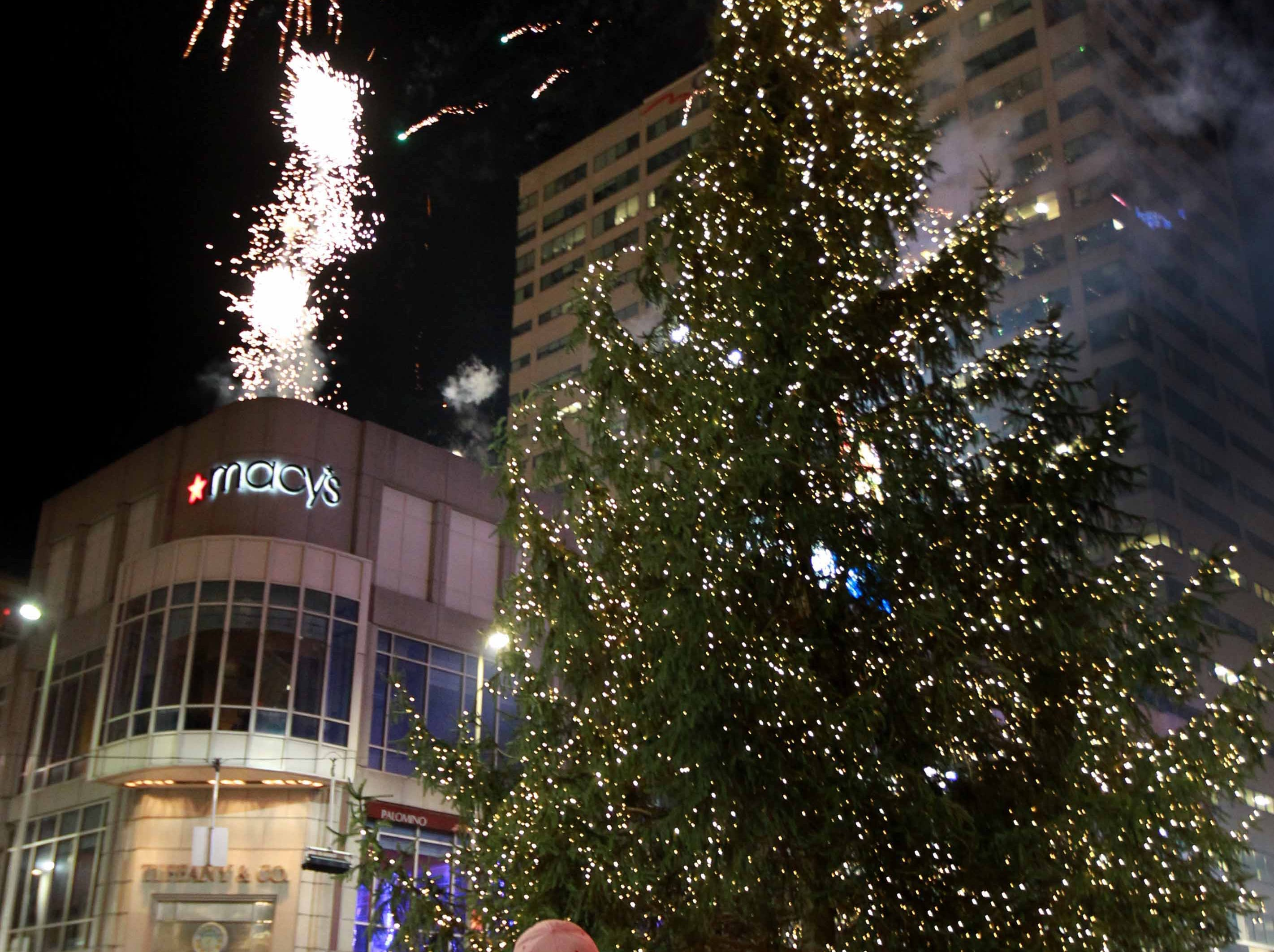 2010: The crowd enjoys watching fireworks as they go off over the newly lit Norwood Spruce Christmas tree that stands about 60 feet tall from Lloyd Hurst of Wooster, Ohio, during ceremonies for the Annual Tree Lighting at Fountain square Friday Nov. 26.