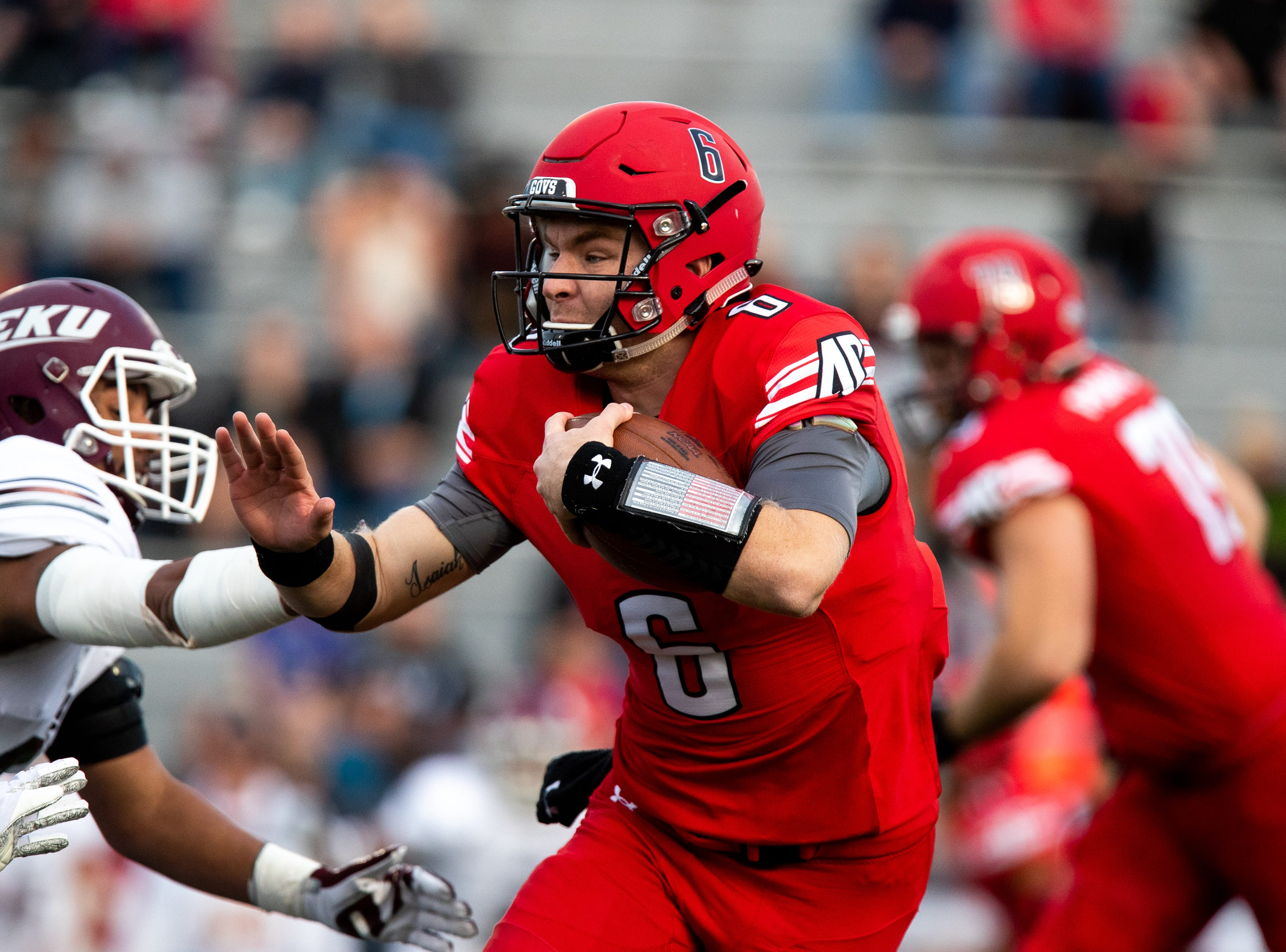 Austin Peay Governors quarterback Jeremiah Oatsvall (6) runs the ball during the first half at Fortera Stadium Saturday, Nov. 3, 2018, in Clarksville, Tenn.