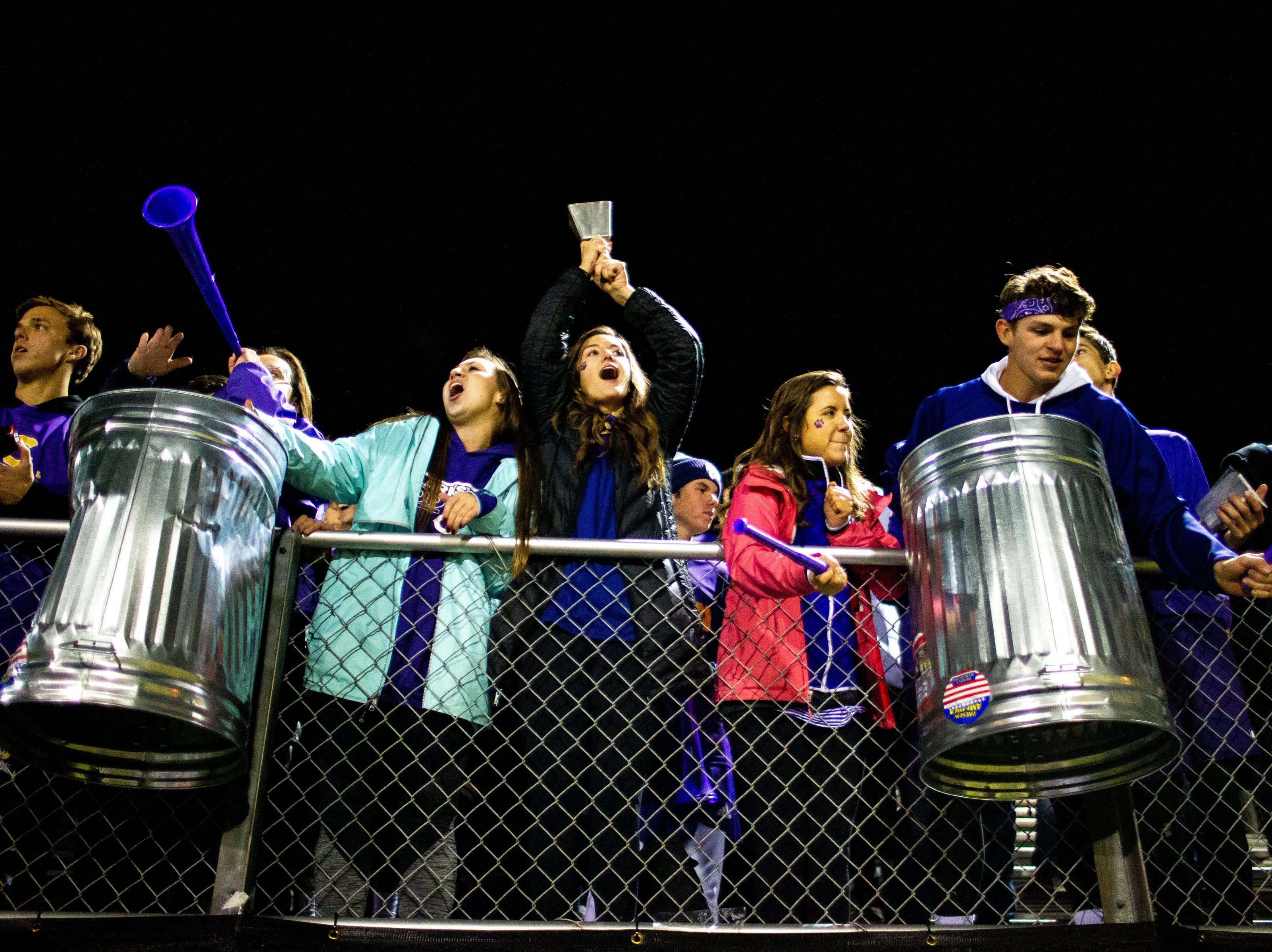 Clarksville High fans cheer during the second half at Clarksville High Friday, Nov. 2, 2018, in Clarksville, Tenn.