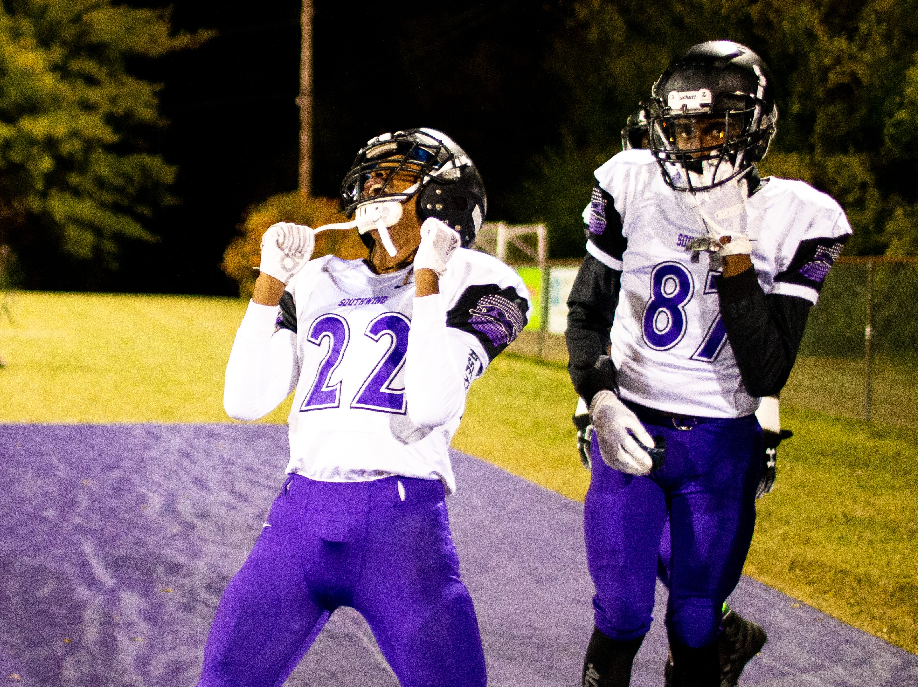 Deqwan tank Bevill (22) of Southwind celebrates during the second half at Clarksville High Friday, Nov. 2, 2018, in Clarksville, Tenn.