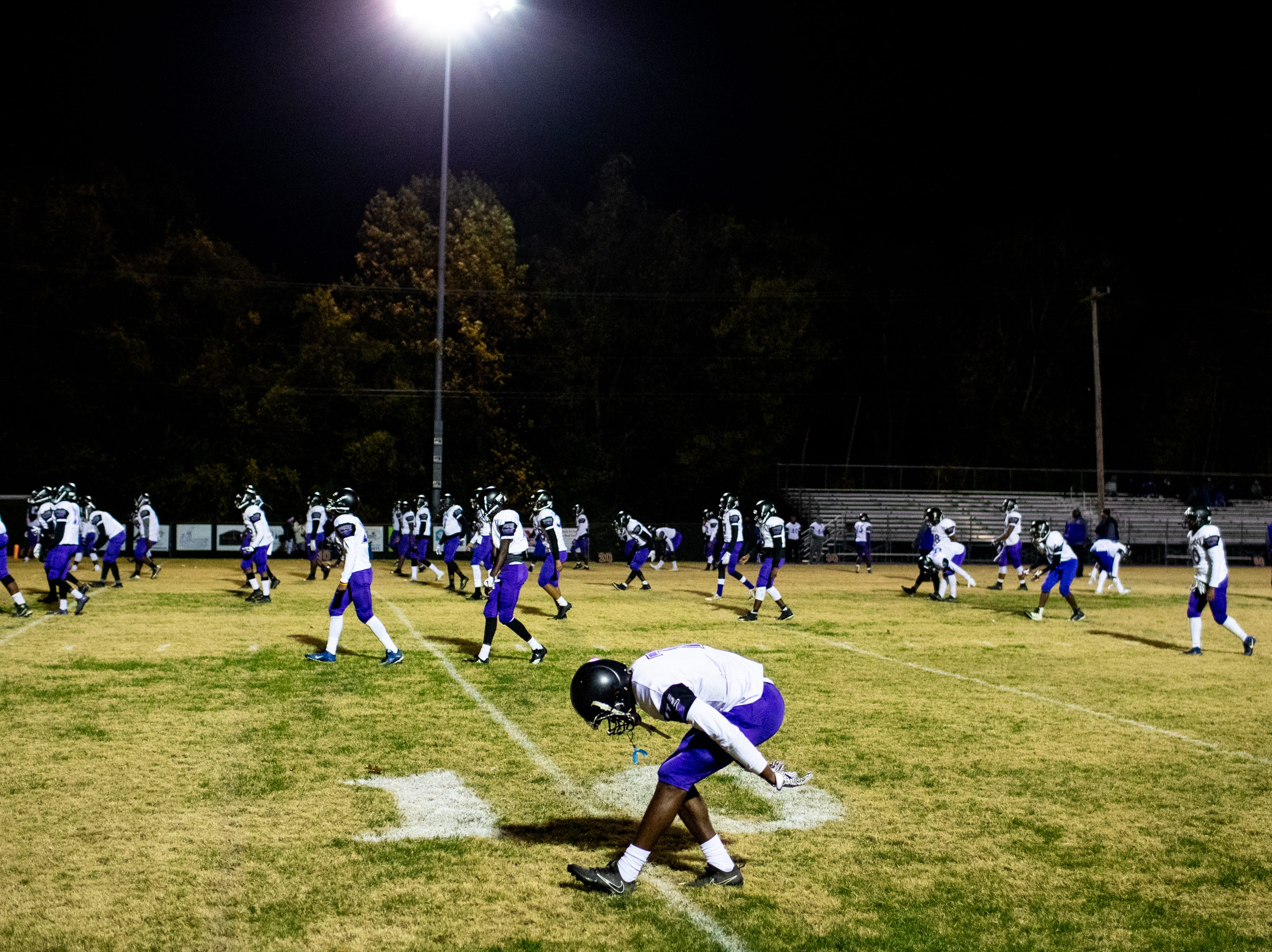Southwind warms up before the game at Clarksville High Friday, Nov. 2, 2018, in Clarksville, Tenn.
