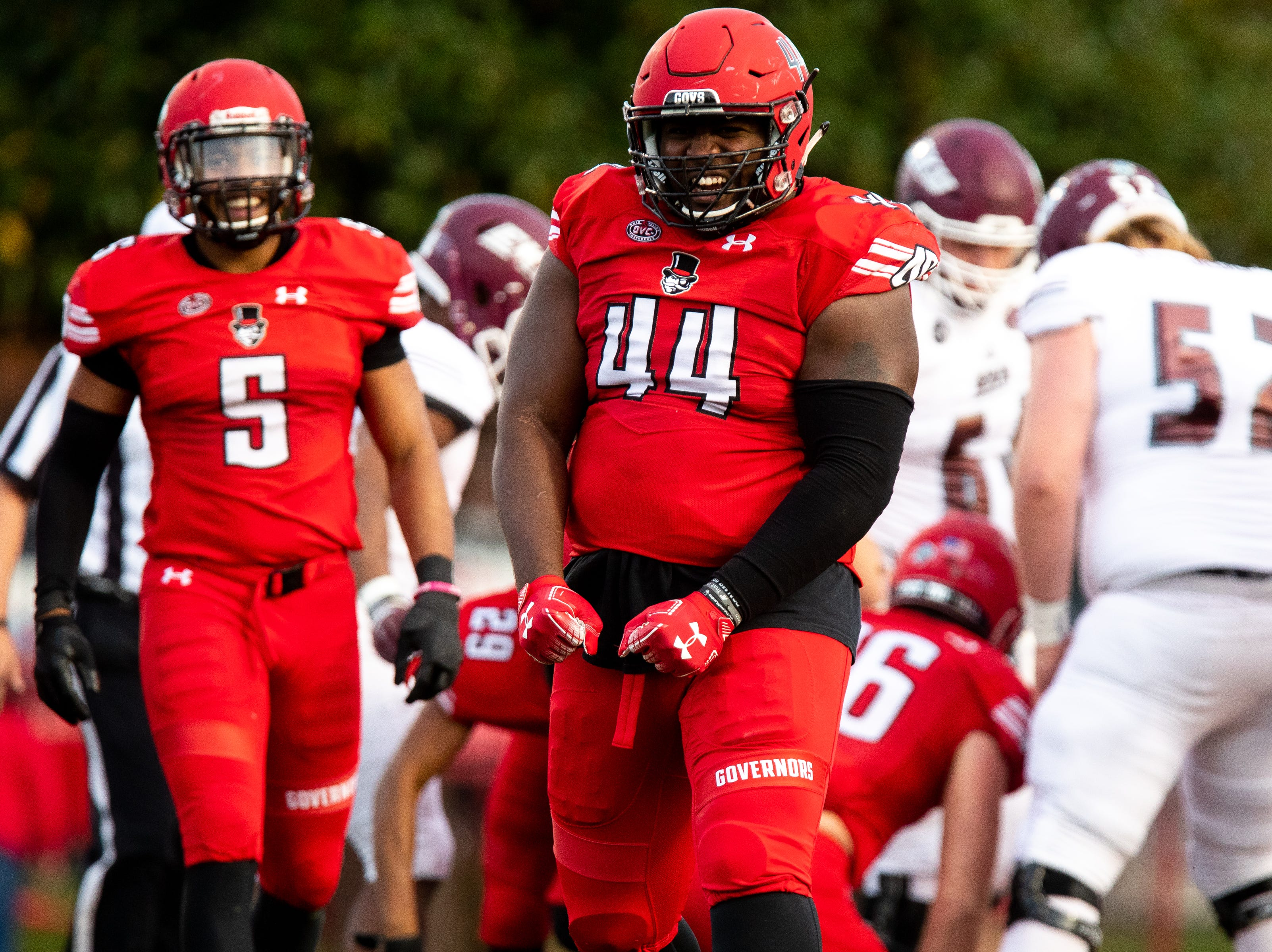 Austin Peay Governors defensive lineman Theron Hodges (44) celebrates after a tackle during the first half at Fortera Stadium Saturday, Nov. 3, 2018, in Clarksville, Tenn.