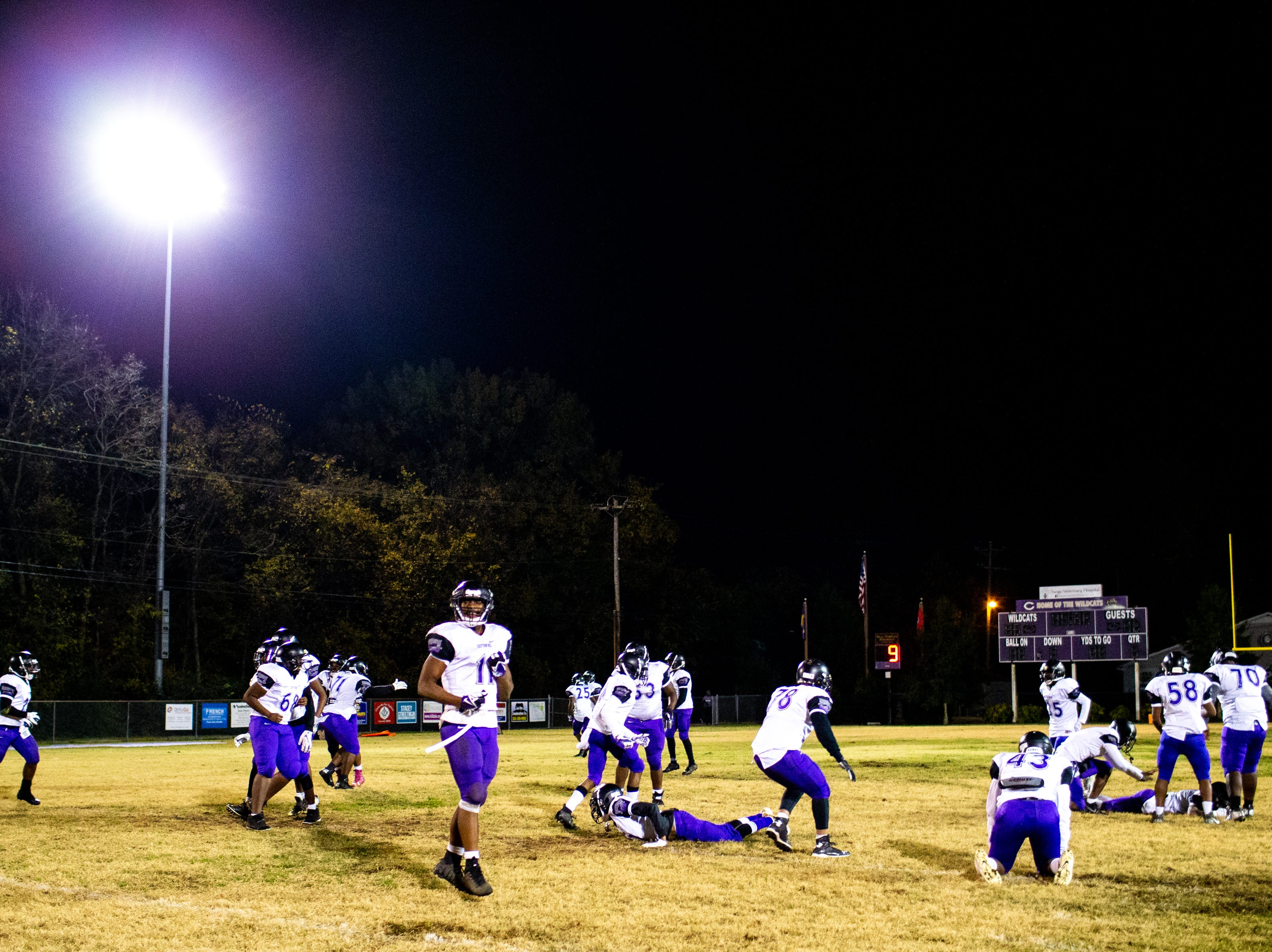 Southwind celebrates after winning in overtime at Clarksville High Friday, Nov. 2, 2018, in Clarksville, Tenn.