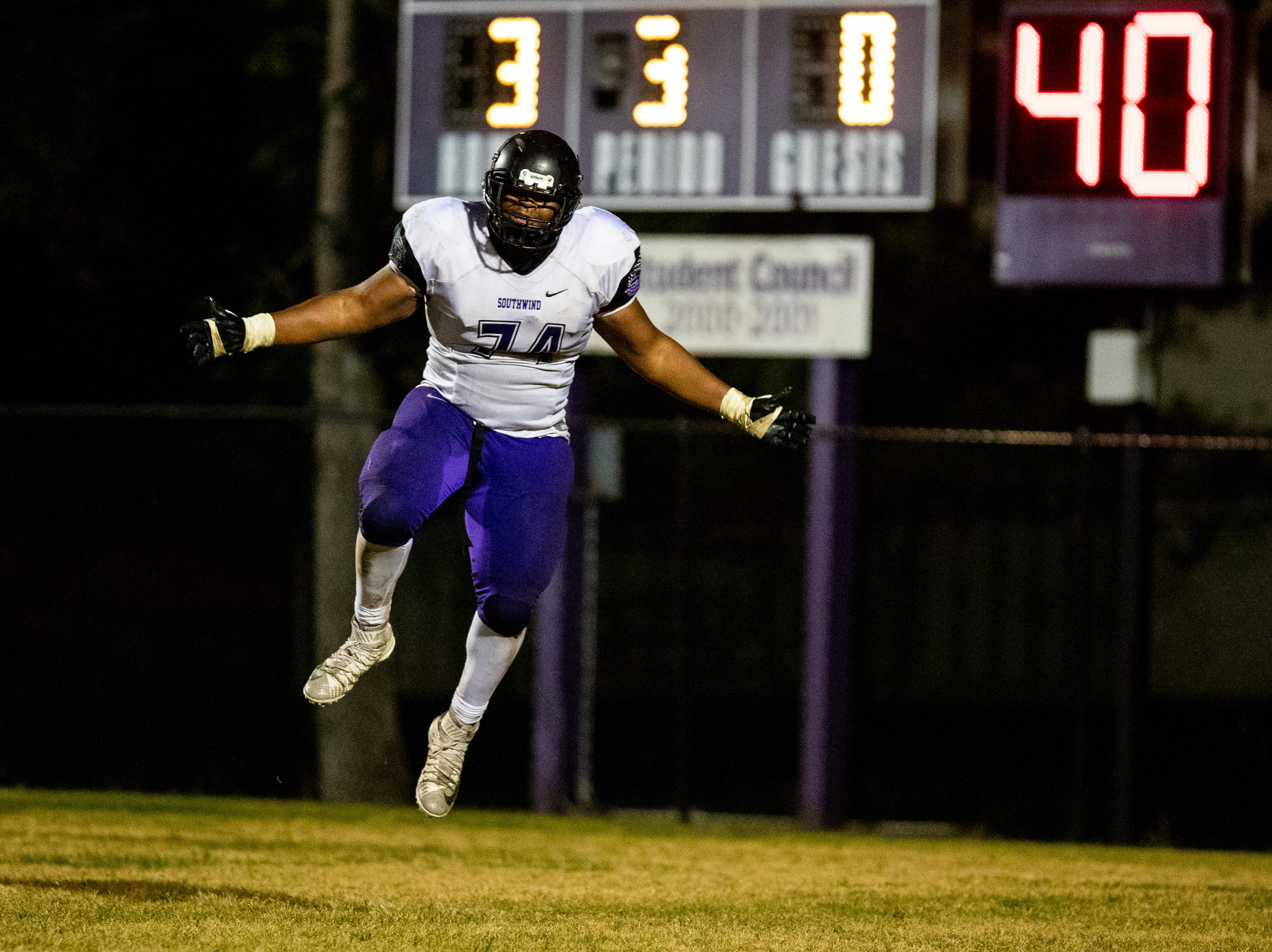 Joshua Bean (74) of Southwind celebrates during the second half at Clarksville High Friday, Nov. 2, 2018, in Clarksville, Tenn.