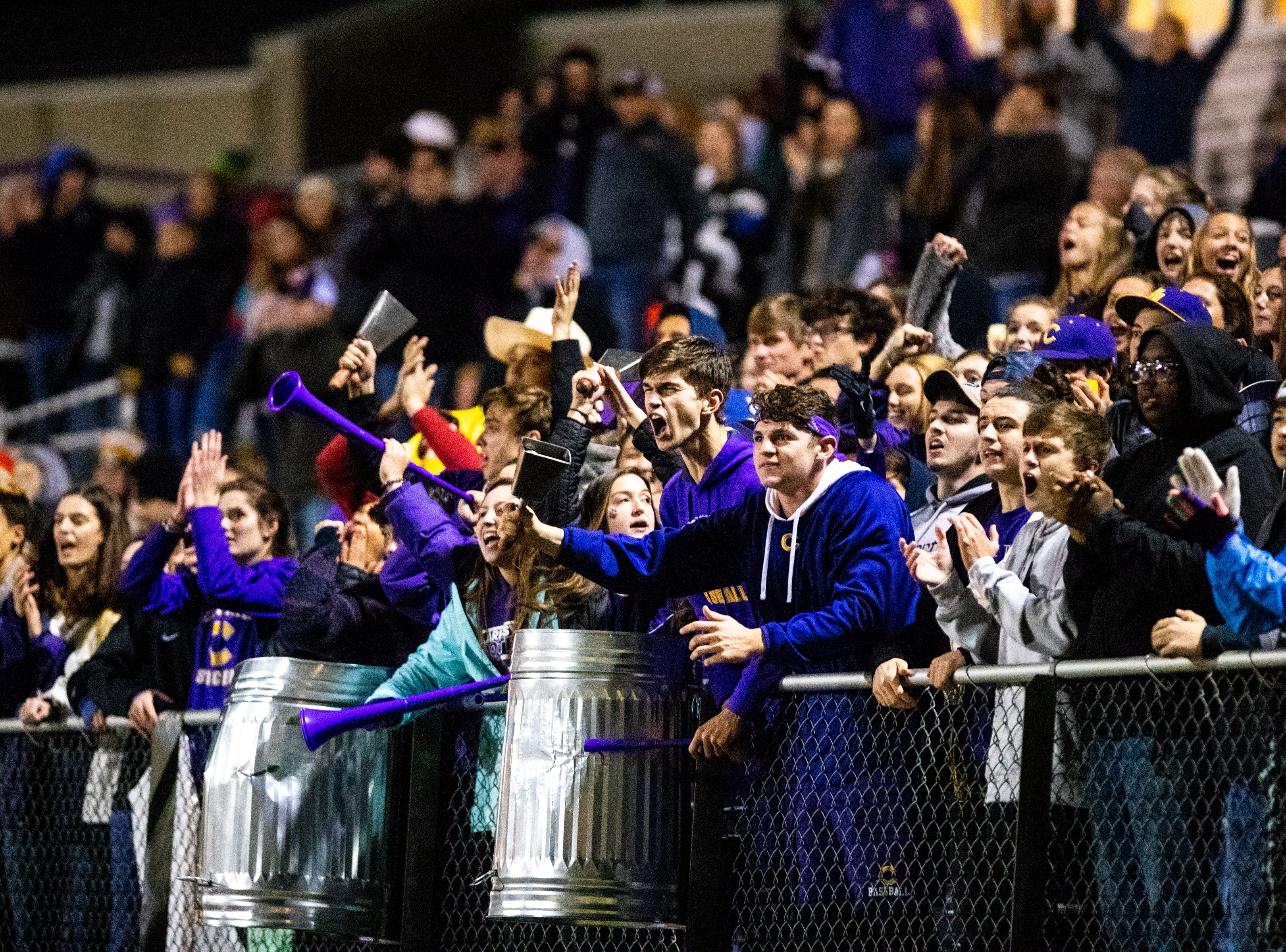 Clarksville High fans cheer during overtime at Clarksville High Friday, Nov. 2, 2018, in Clarksville, Tenn.