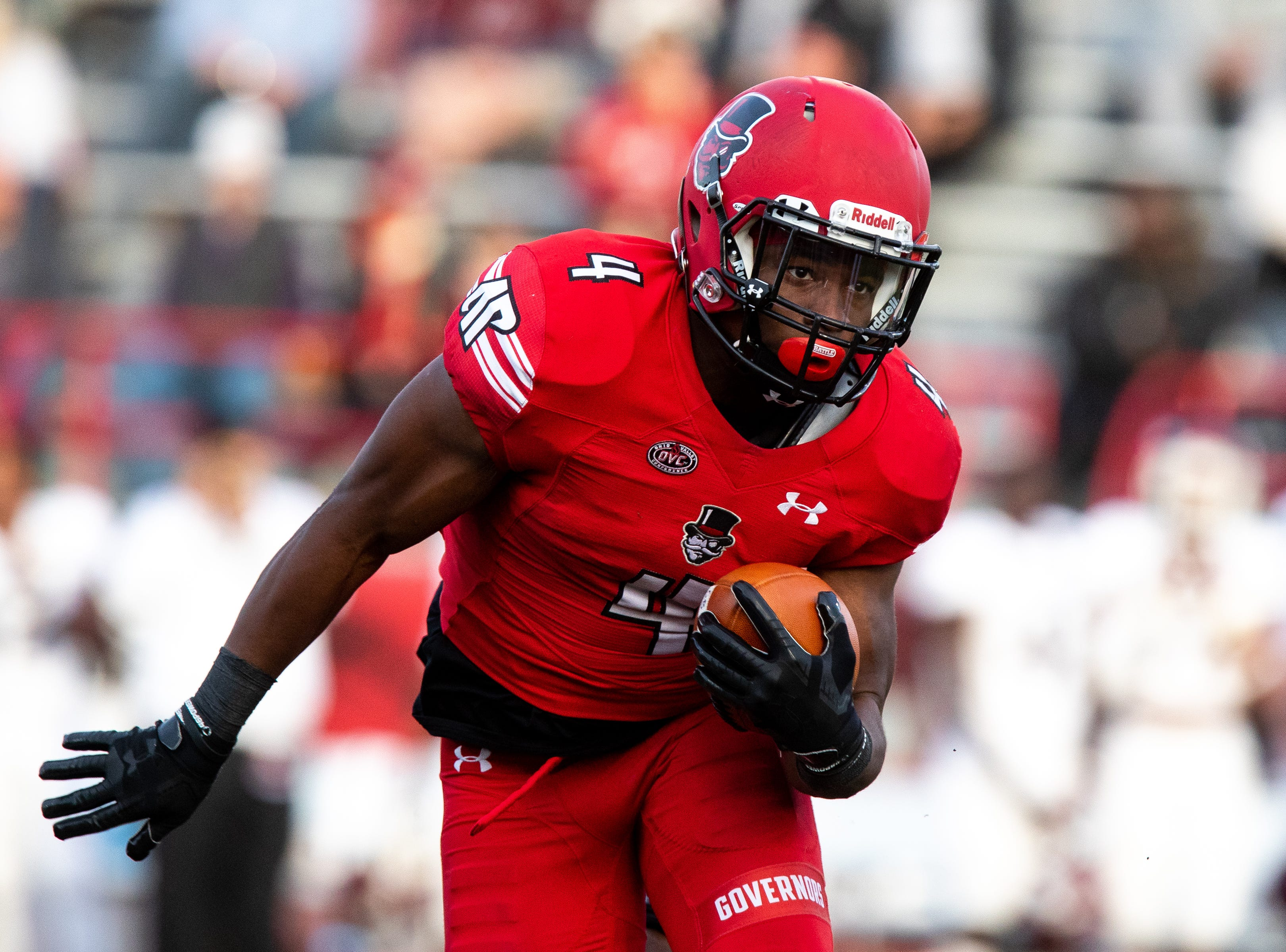 Austin Peay Governors running back Tre Nation (4) runs the ball during the first half at Fortera Stadium Saturday, Nov. 3, 2018, in Clarksville, Tenn.