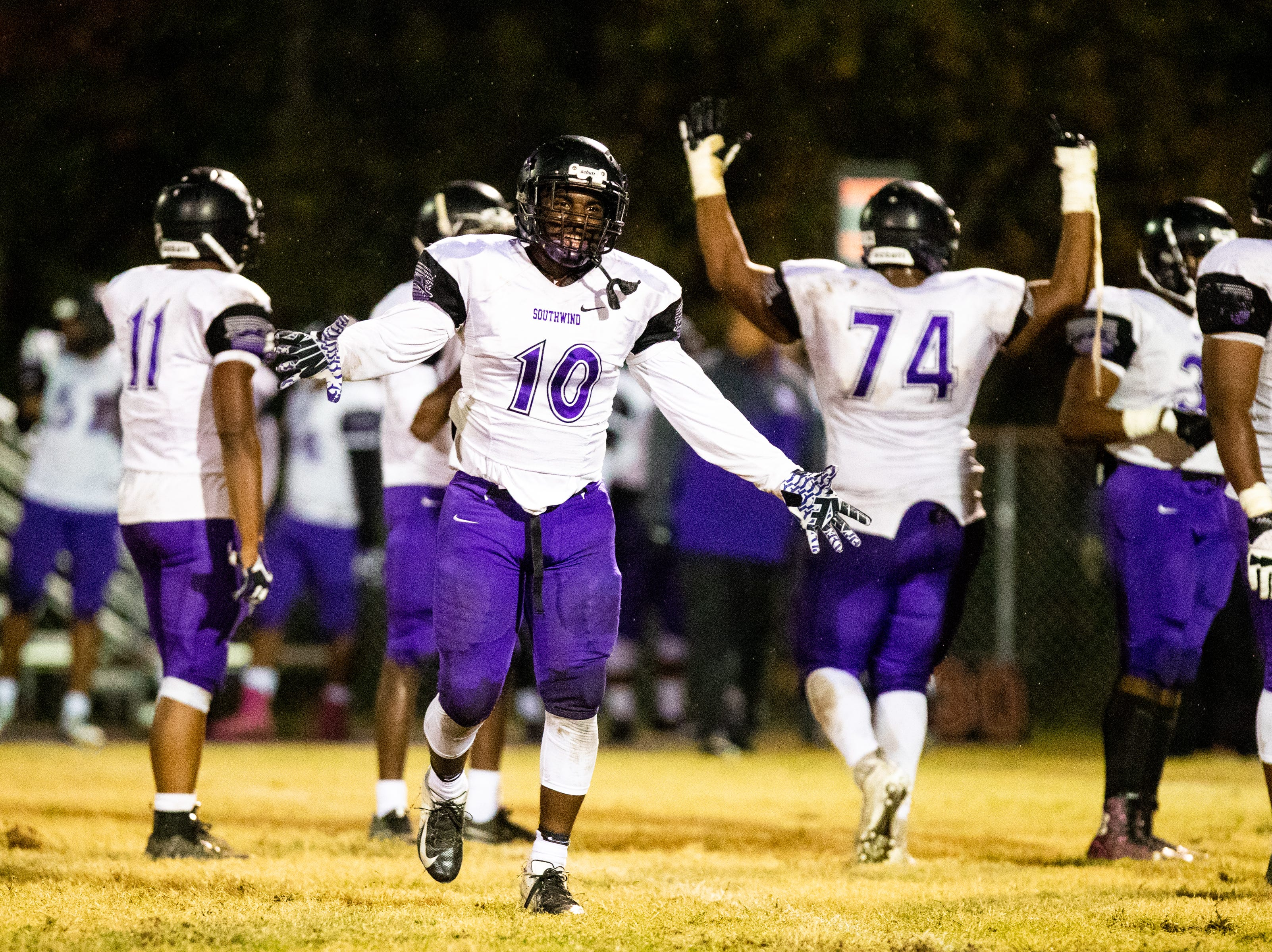 Southwind celebrates before going into the locker room during the first half at Clarksville High Friday, Nov. 2, 2018, in Clarksville, Tenn.