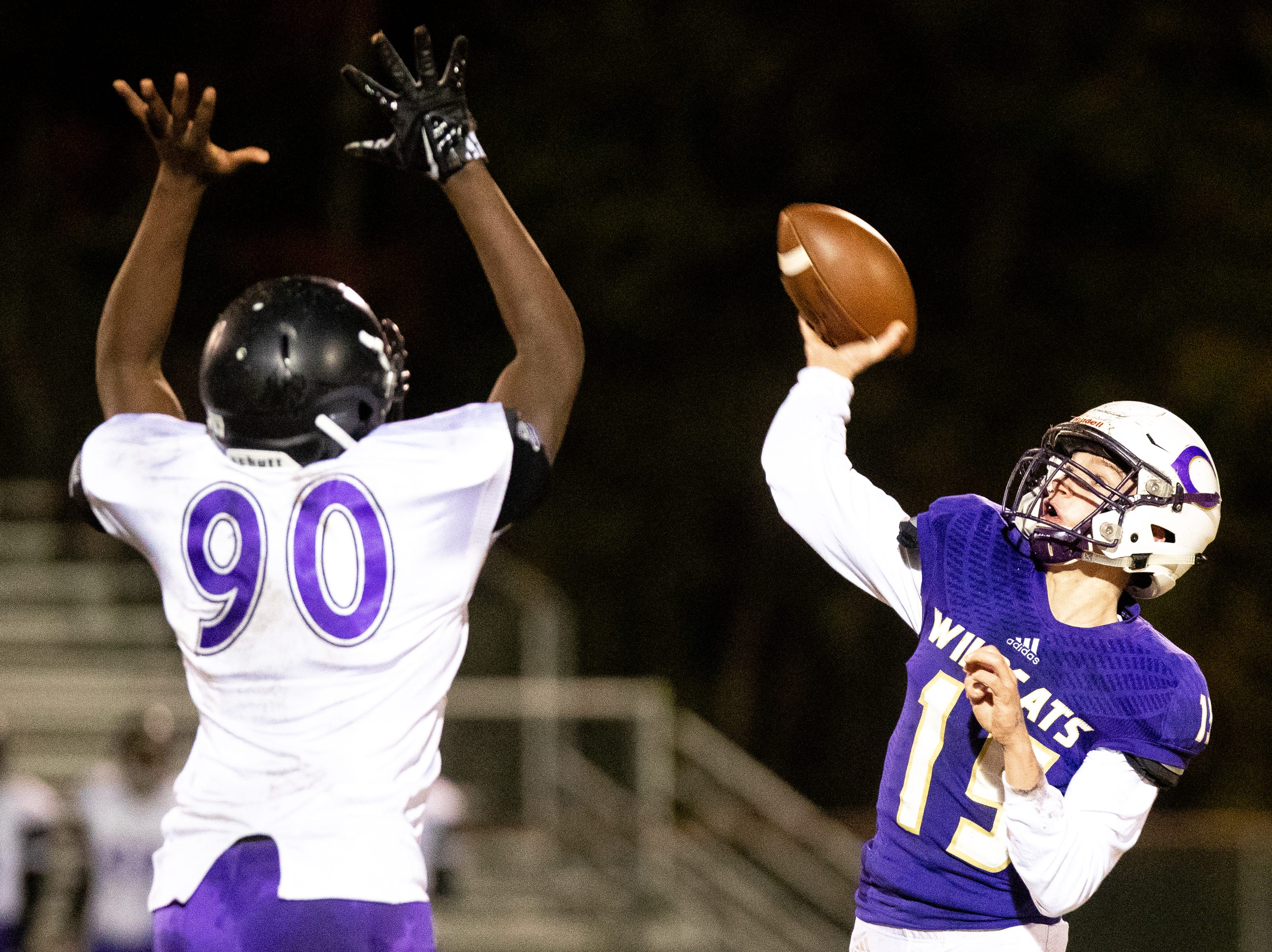 Backup quarterback Colby Cook (15) of Clarksville High throws the ball during the first half at Clarksville High Friday, Nov. 2, 2018, in Clarksville, Tenn.