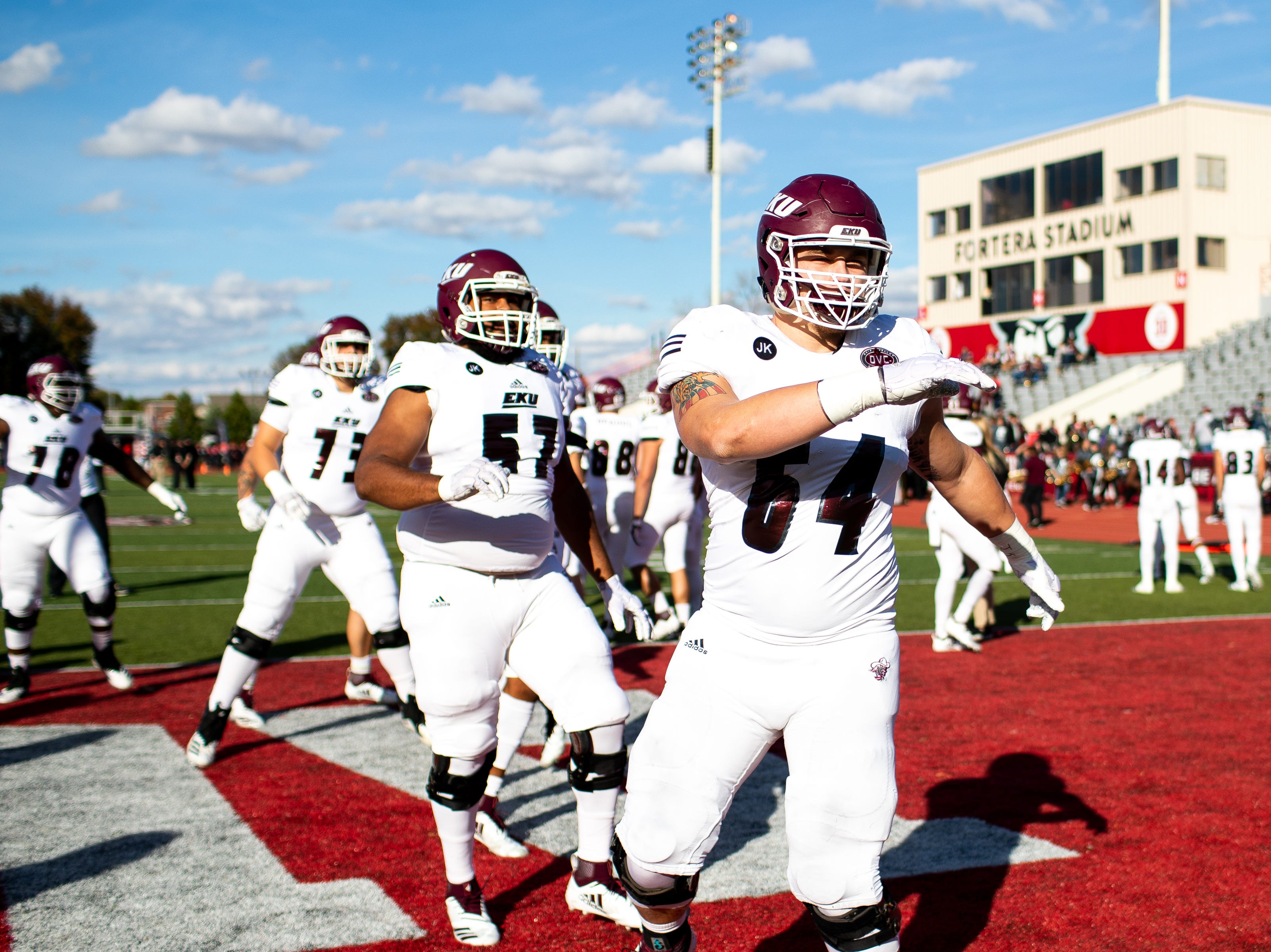 Eastern Kentucky Colonels warm up before the game at Fortera Stadium Saturday, Nov. 3, 2018, in Clarksville, Tenn.