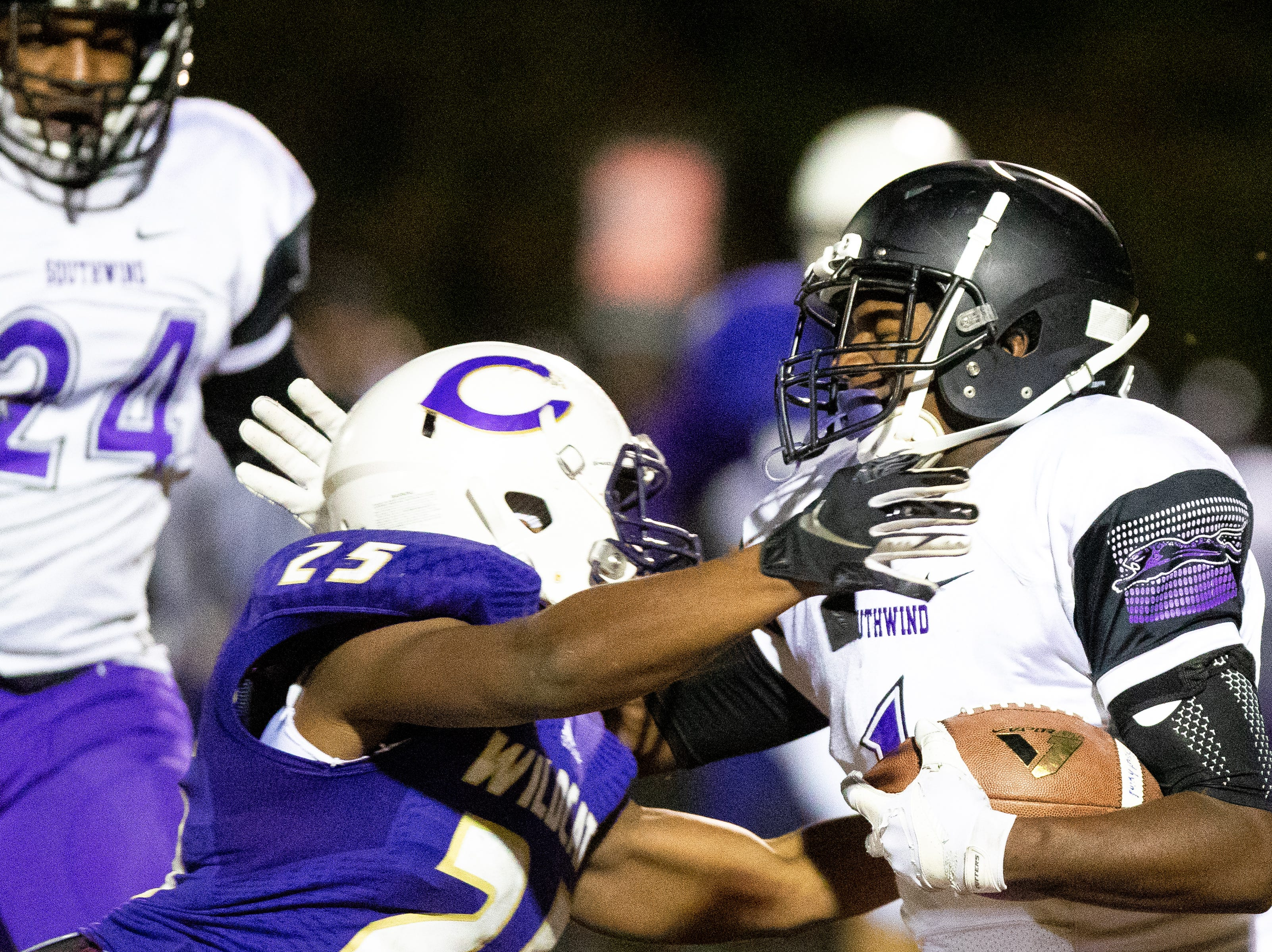 Steve Guy (1) of Southwind runs the ball during the first half at Clarksville High Friday, Nov. 2, 2018, in Clarksville, Tenn.
