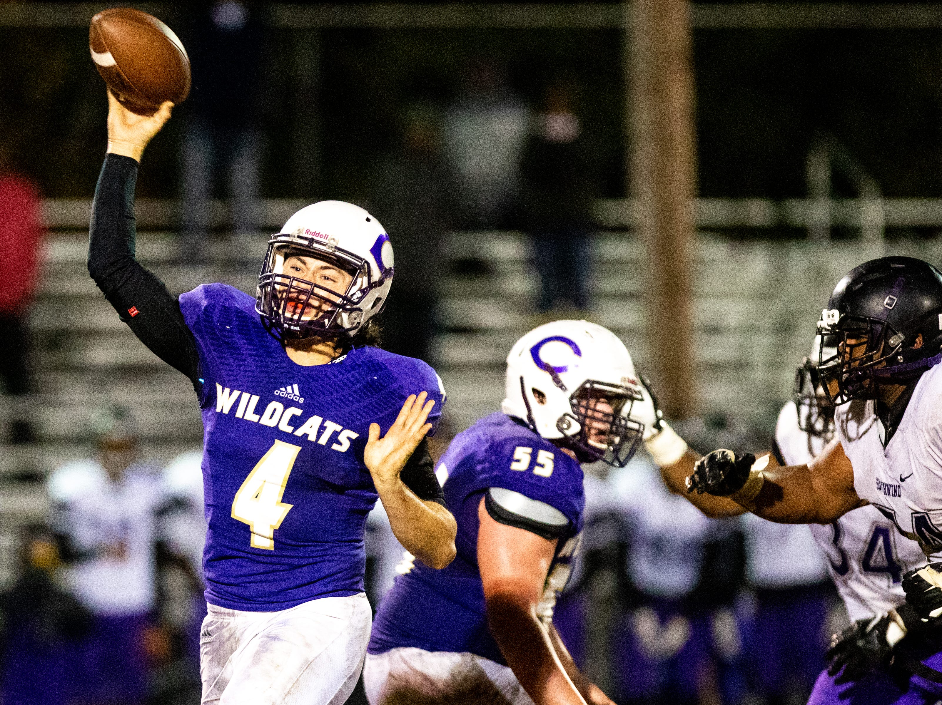 Ford Cooper (4) of Clarksville High throws the ball during the second half at Clarksville High Friday, Nov. 2, 2018, in Clarksville, Tenn.