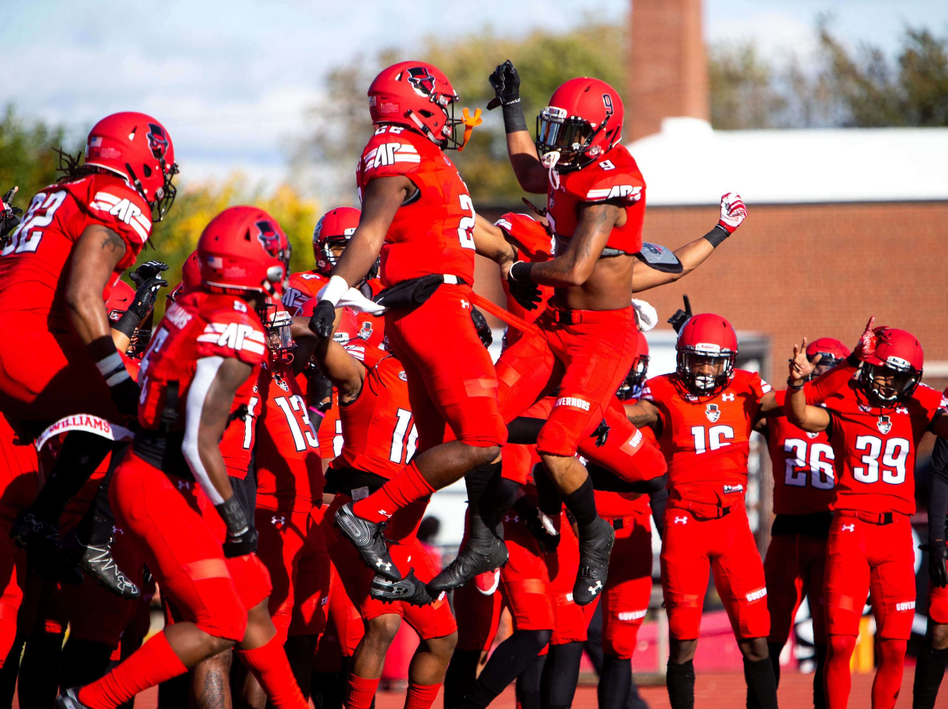 Austin Peay Governors warm up before the game at Fortera Stadium Saturday, Nov. 3, 2018, in Clarksville, Tenn.