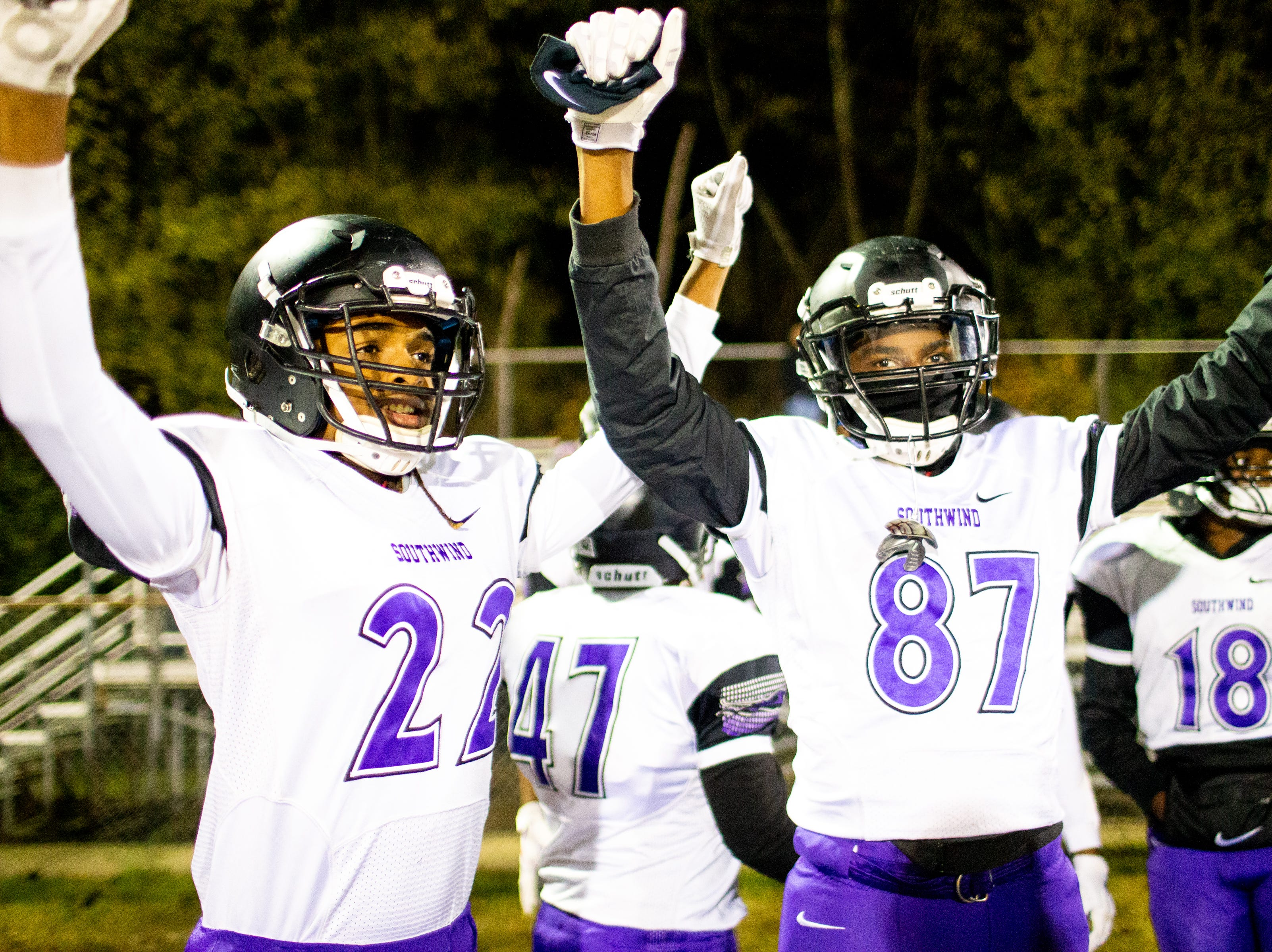 Southwind celebrates during the second half at Clarksville High Friday, Nov. 2, 2018, in Clarksville, Tenn.