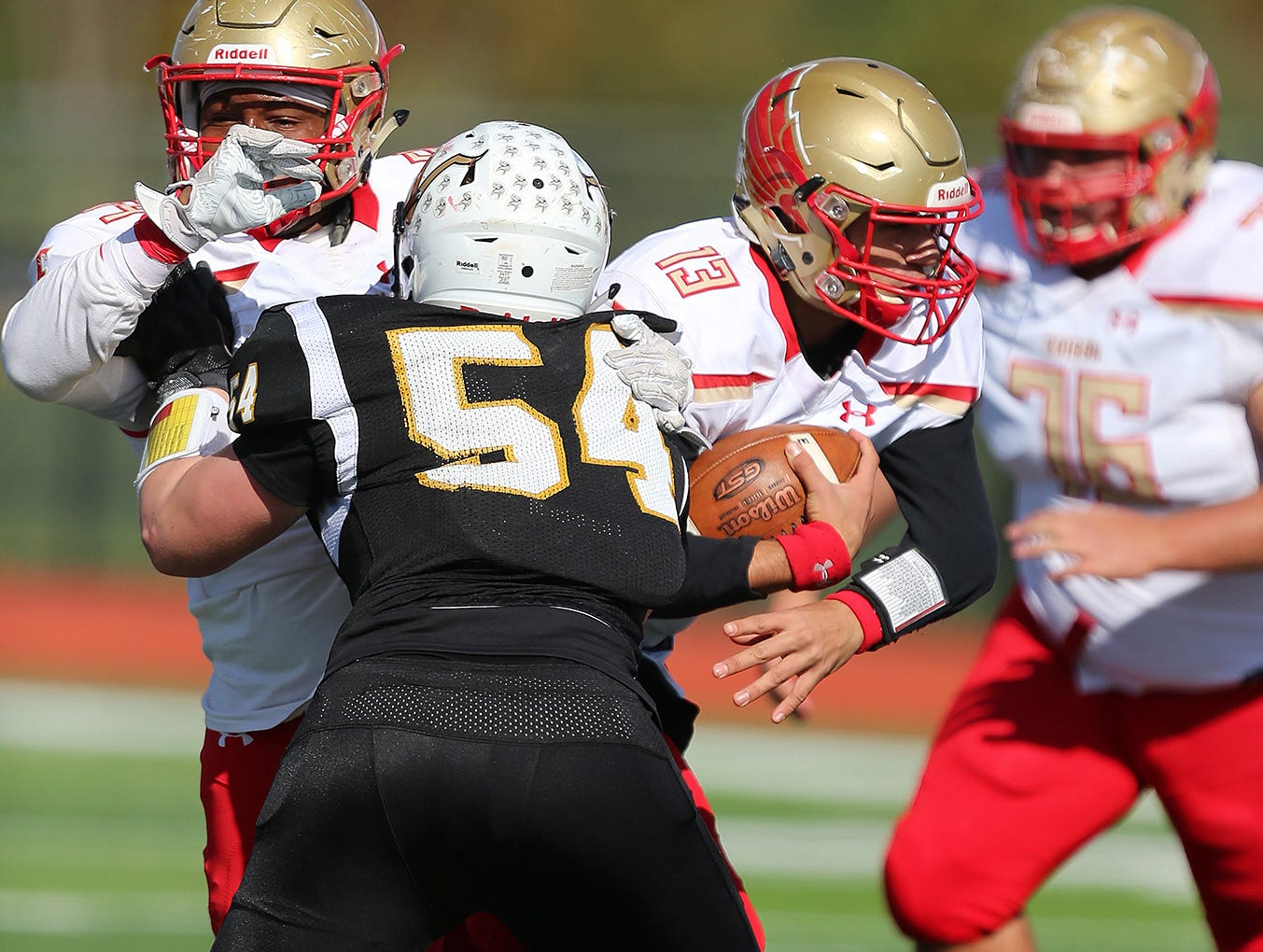 Edison at South Brunswick football in the first round of Central Group V. Edison quartrback  #13 Lucas Loffredo in the first half Saturday November 3, 2018 photo by Ed Pagliarini