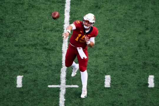 Nov 3, 2018; Lawrence, KS, USA; Iowa State Cyclones quarterback Brock Purdy (15) throws a pass against the Kansas Jayhawks in the second half at Memorial Stadium.