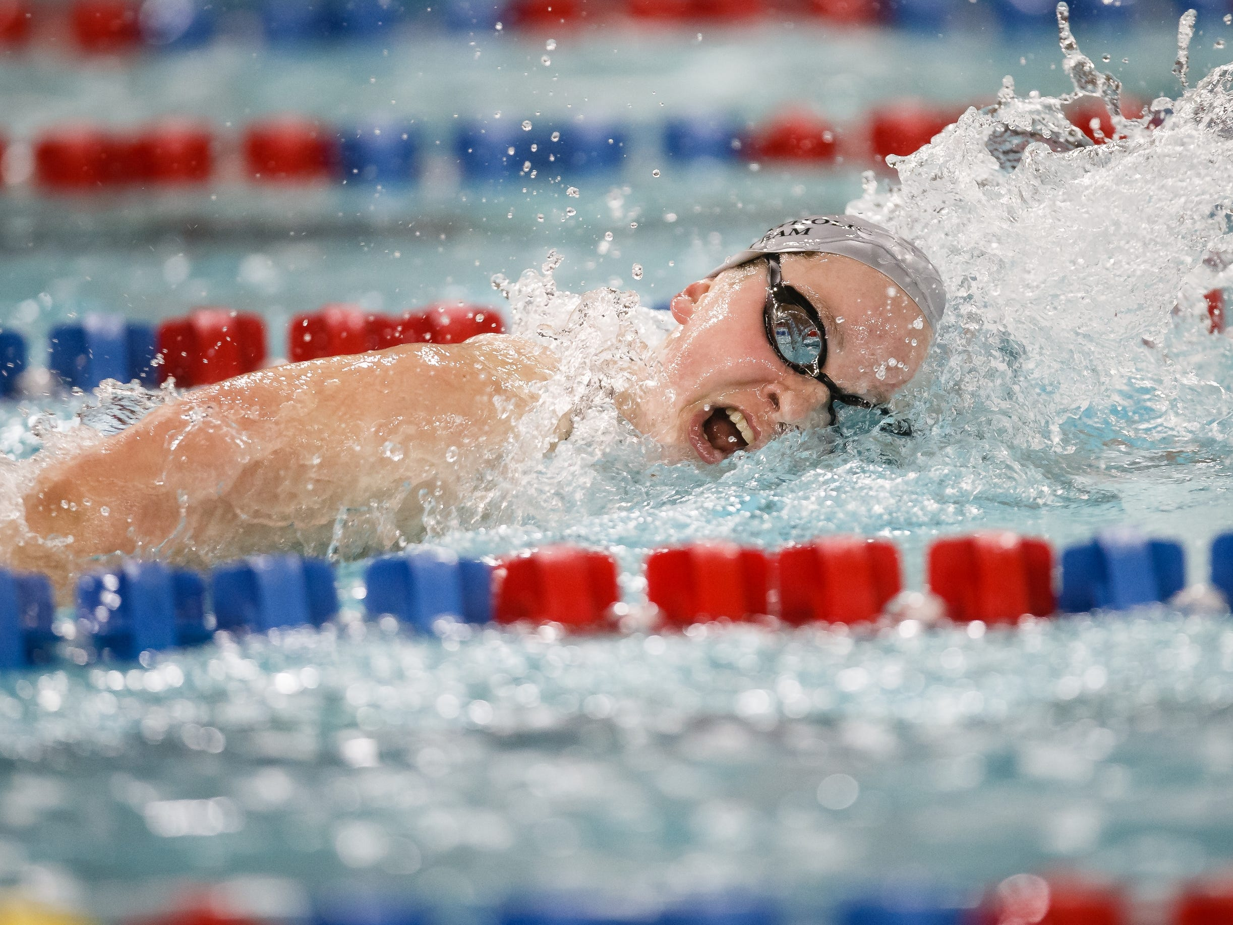 Dowling Catholic's Berit Quass swims in the 500 yard freestyle at the Iowa girls state swimming meet on Saturday, Nov. 3, 2018, in Marshalltown.
