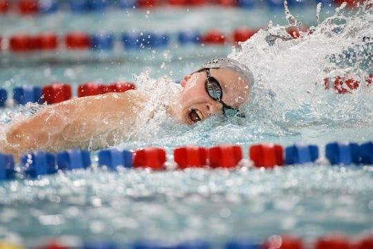 Dowling Catholic's Berit Quass swims in the 500 yard freestyle at the Iowa girls state swimming meet on Saturday, Nov. 3, 2018, in Marshalltown.
