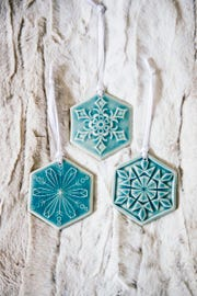 These snowflake ornaments are new for 2018 at Pewabic.